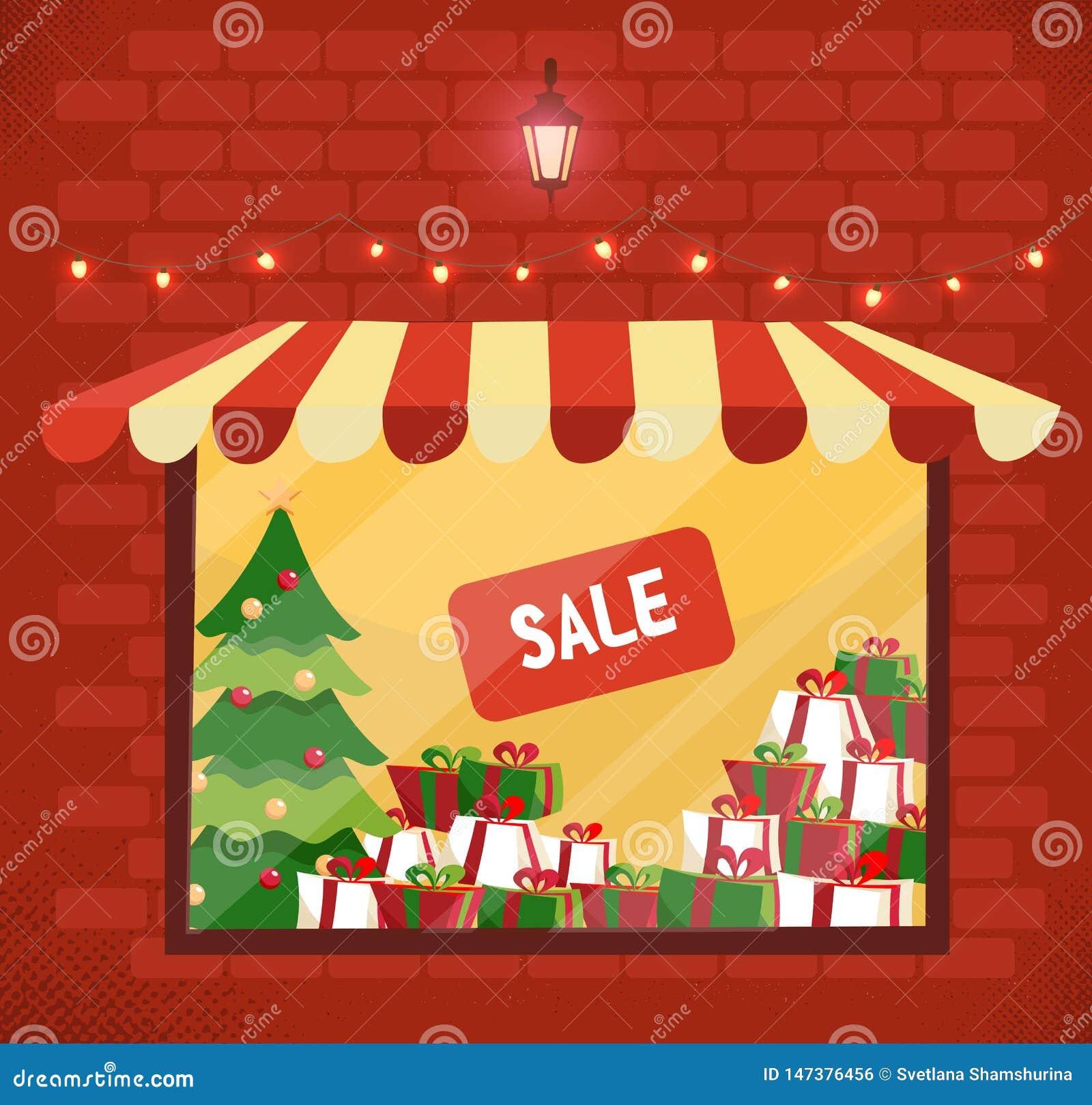Stanza frontale di negozio con la vendita dei regali di Natale Facciata della finestra di stanza frontale di negozio e del deposi