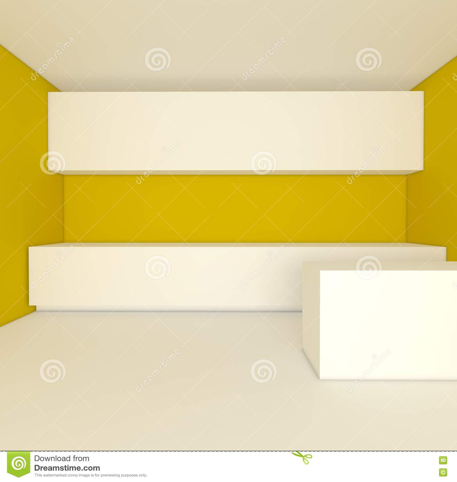 Parete Cucina Gialla: Bella cucina con le pareti gialle ed i pavimenti gli armadietti e del.