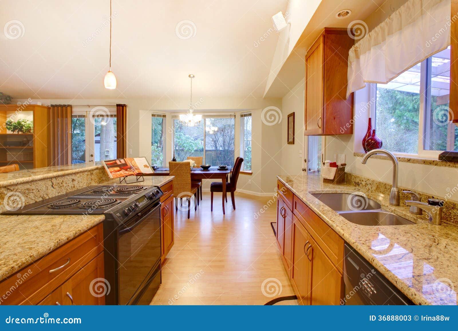 Download Stanza Luminosa Ammobiliata Della Cucina. Area Pranzante Immagine Stock - Immagine di contatore, mobilia: 36888003