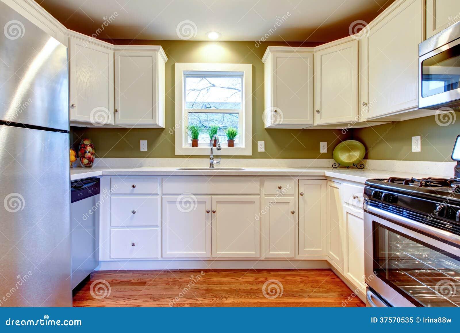 Pareti Della Cucina Verdi : Stanza luminosa bianca e verde oliva della cucina immagine stock
