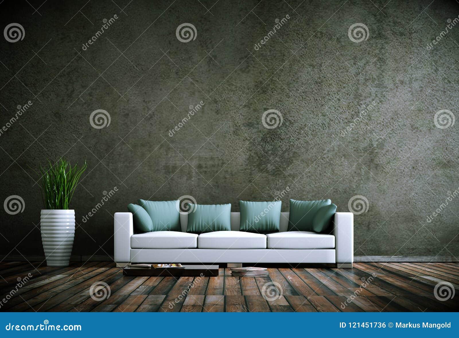 Stanza luminosa moderna di interior design con il sofà bianco