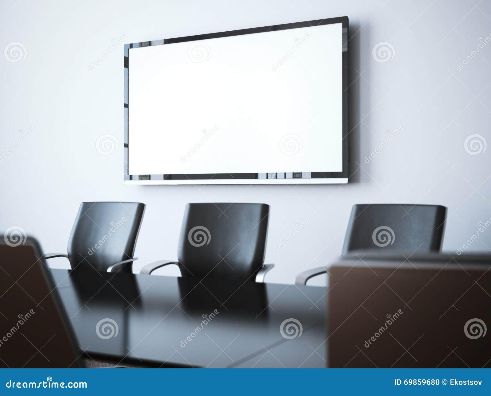 Stanza moderna dell 39 ufficio con lo schermo della tv for Stanza uso ufficio