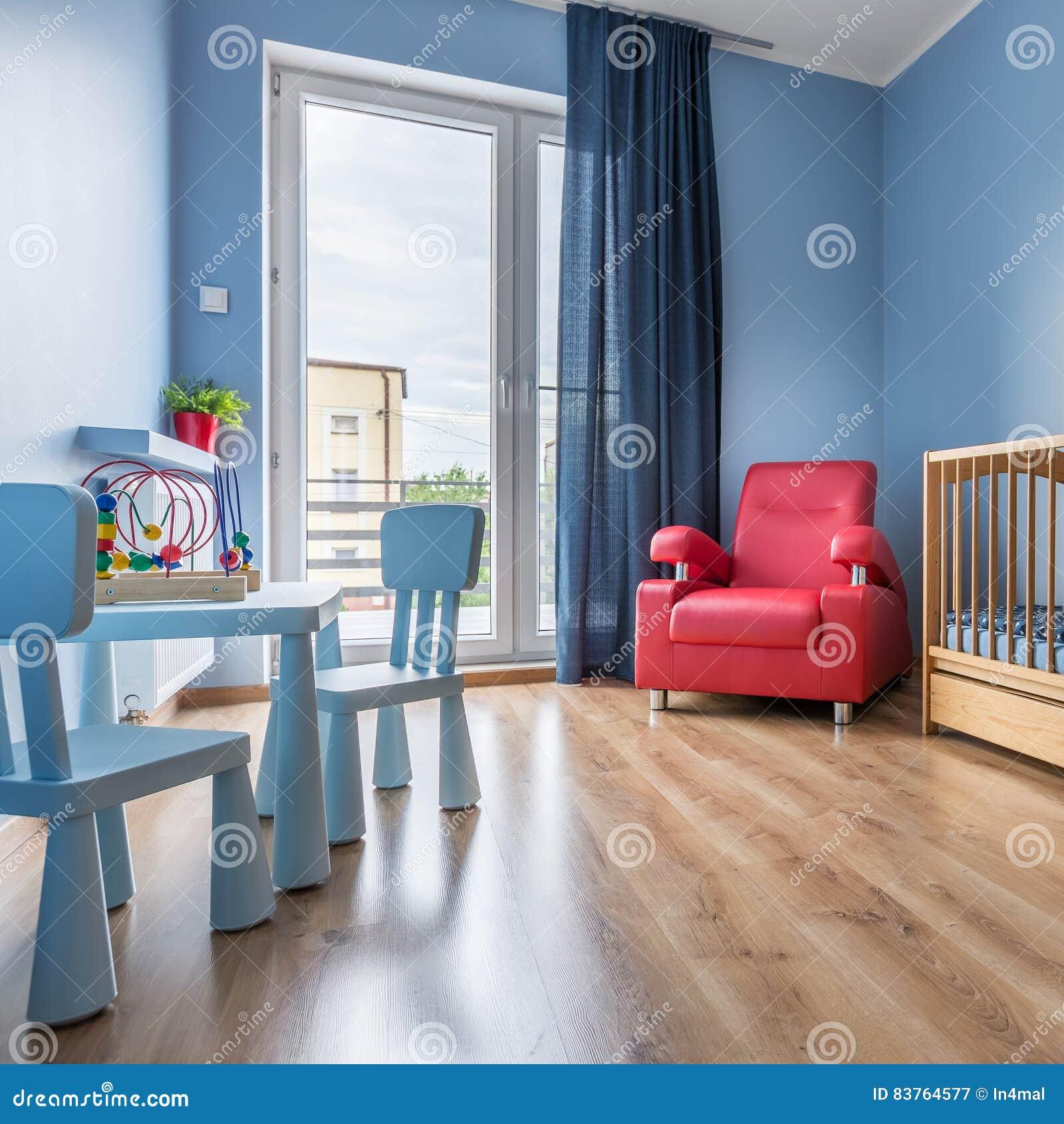 Stanza semplice del bambino blu