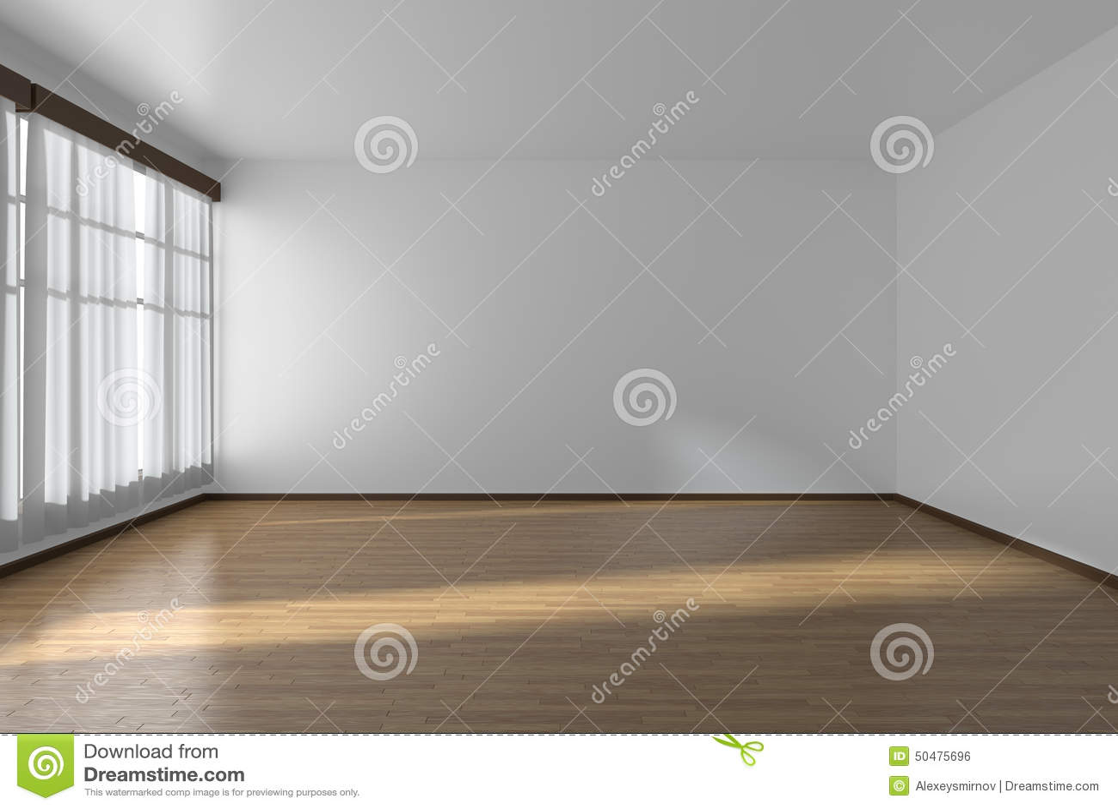 Stanza vuota bianca con le pareti il pavimento di parquet for Piani di architetto domestico