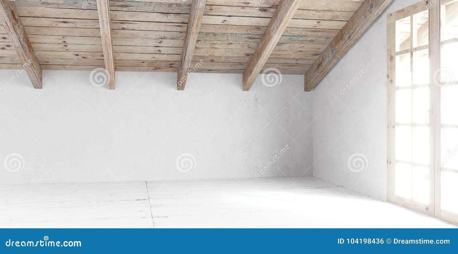 Stanza vuota bianca in soffitta