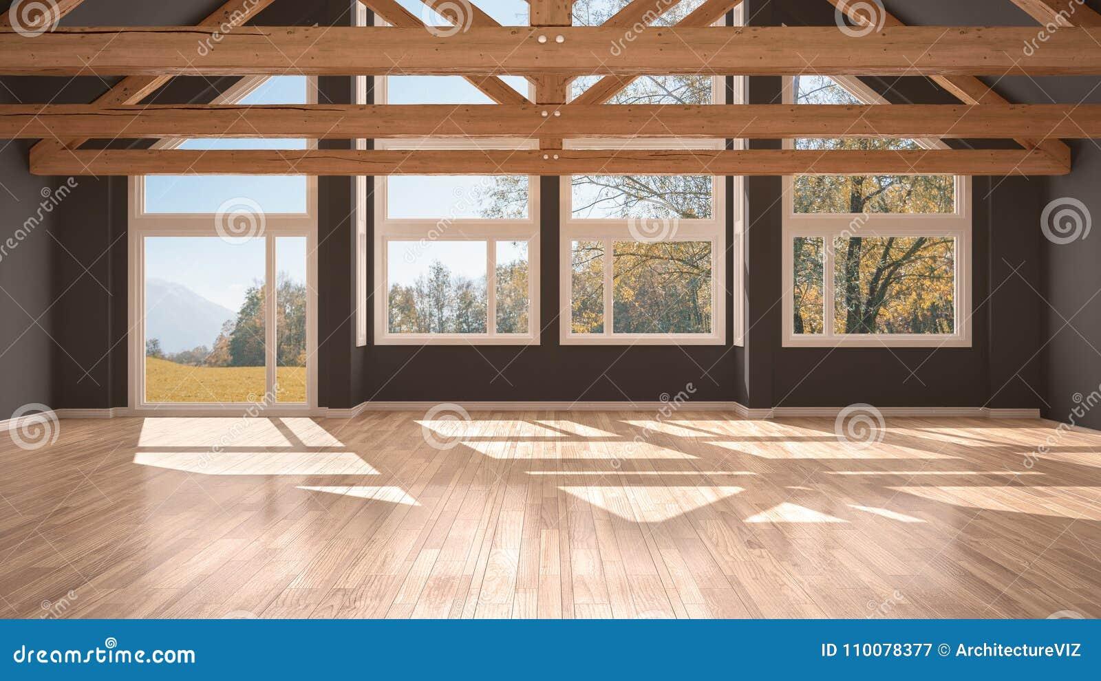 Pavimento Bianco E Grigio : Stanza vuota in casa di lusso di eco pavimento di parquet e tetto