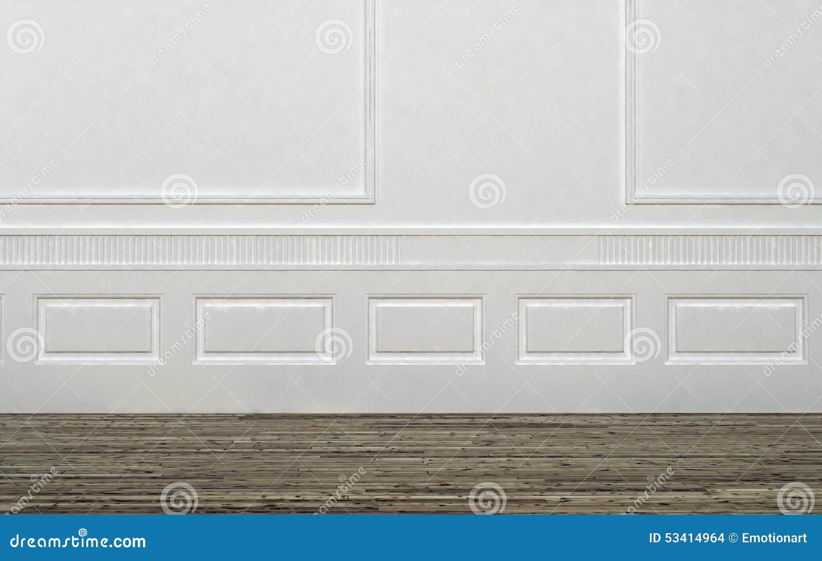 Pareti In Legno Bianco : Stanza vuota con il pavimento bianco di legno e della parete