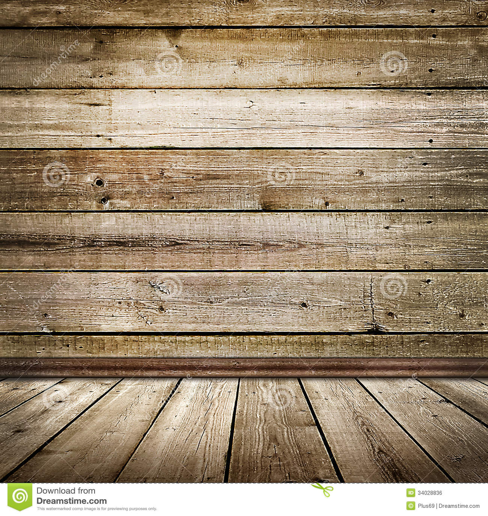 Stanza vuota con il pavimento e la parete di legno - Parete di legno ...