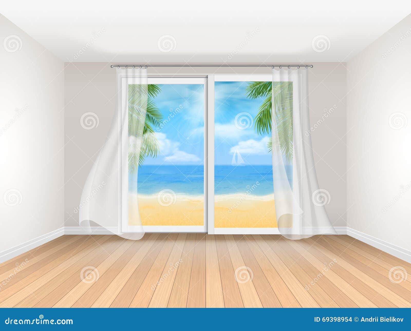 Stanza vuota con la grande vista della finestra e del mare for Grande disposizione della stanza