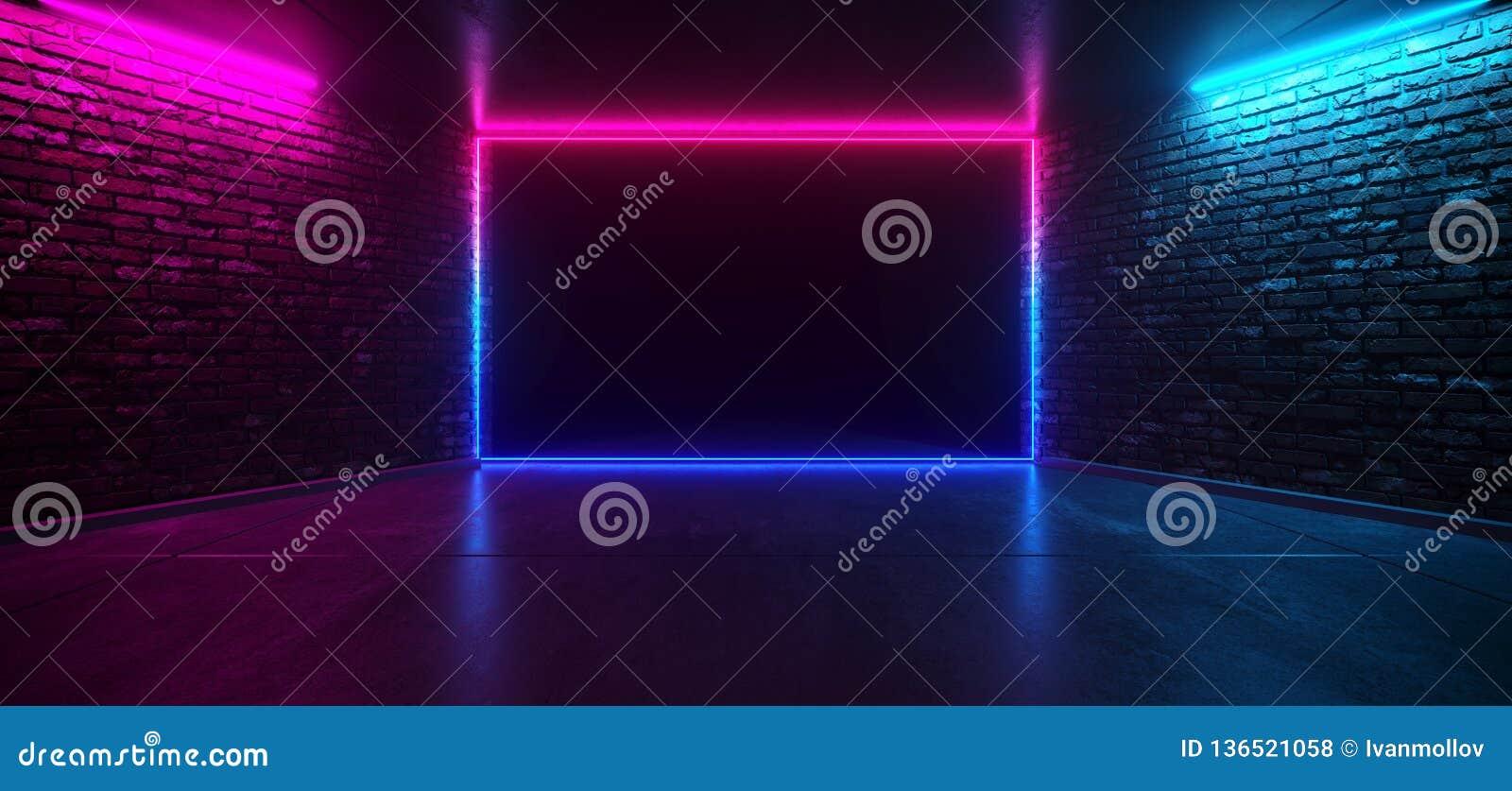 Stanza vuota elegante d ardore al neon futuristica della fase di rosa blu porpora del club di ballo retro con il muro di mattoni