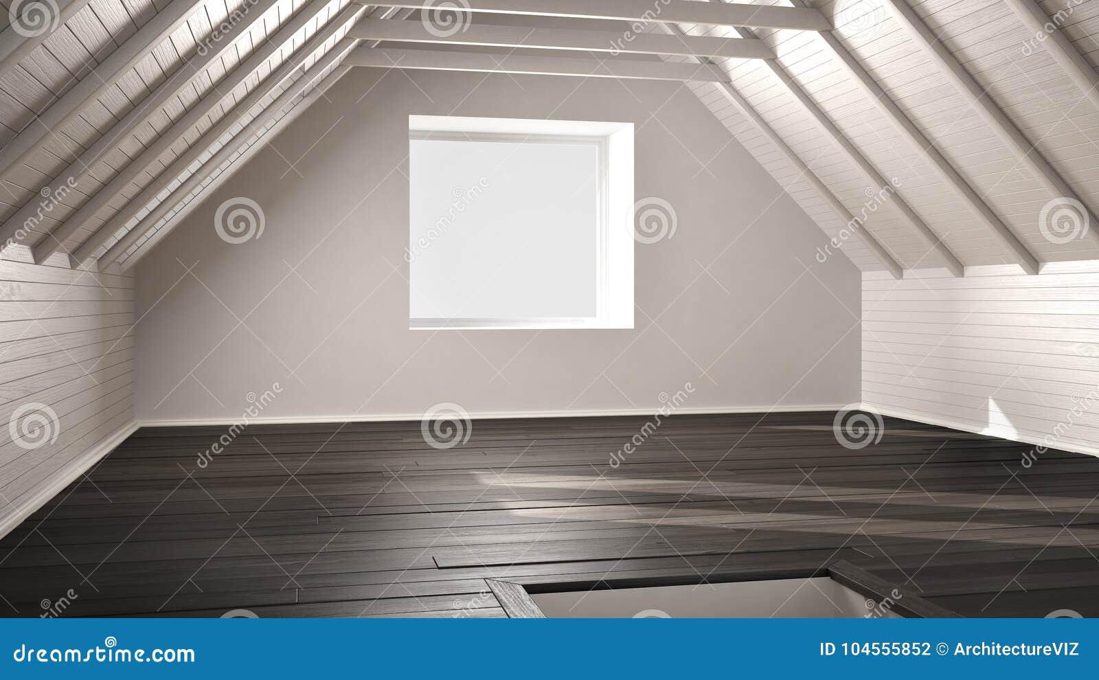 Pavimento Bianco E Grigio : Stanza vuota sottotetto soffitta pavimento di legno del parquet