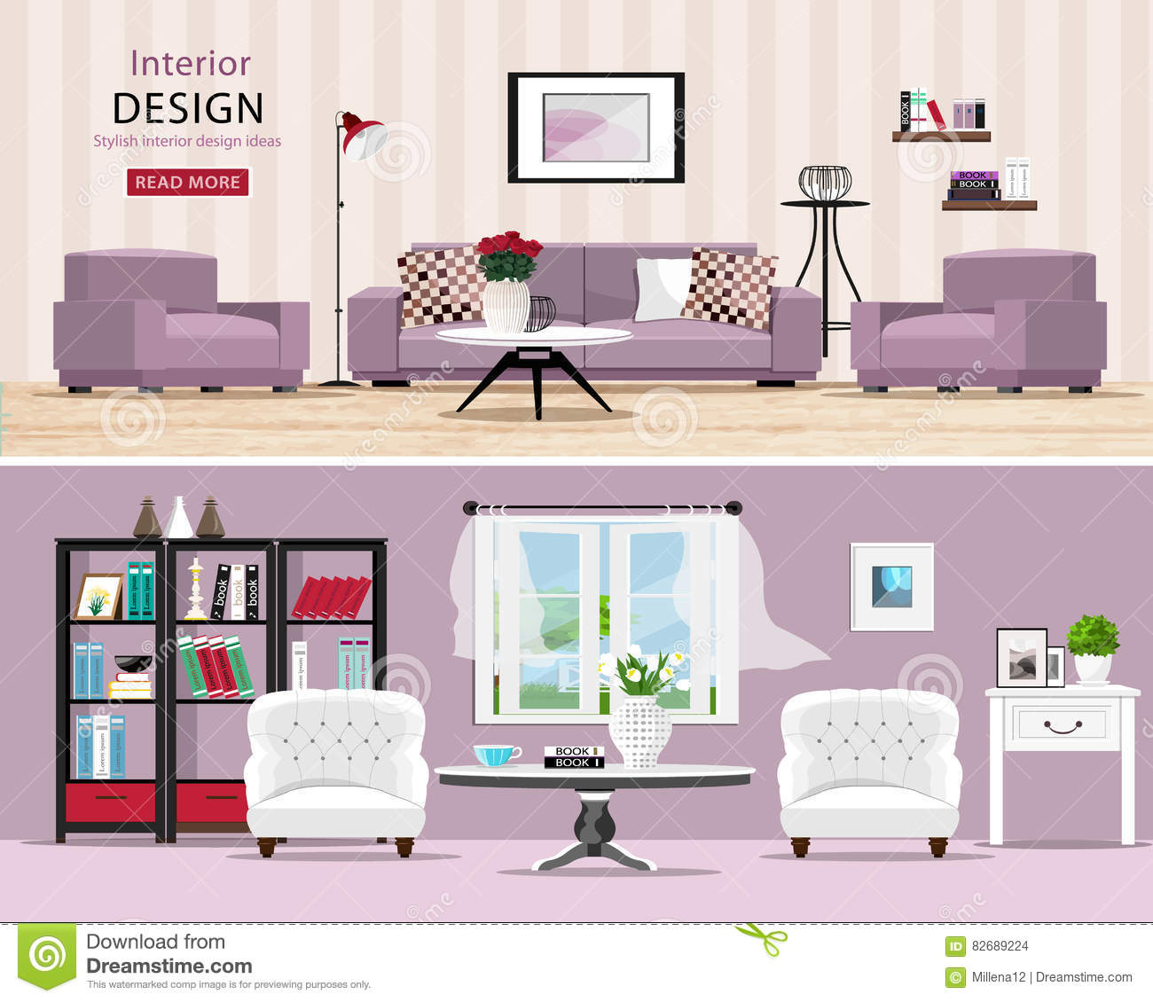 stanze sveglie messe saloni classici e moderni accoglienti con mobilia illustrazione vettoriale. Black Bedroom Furniture Sets. Home Design Ideas