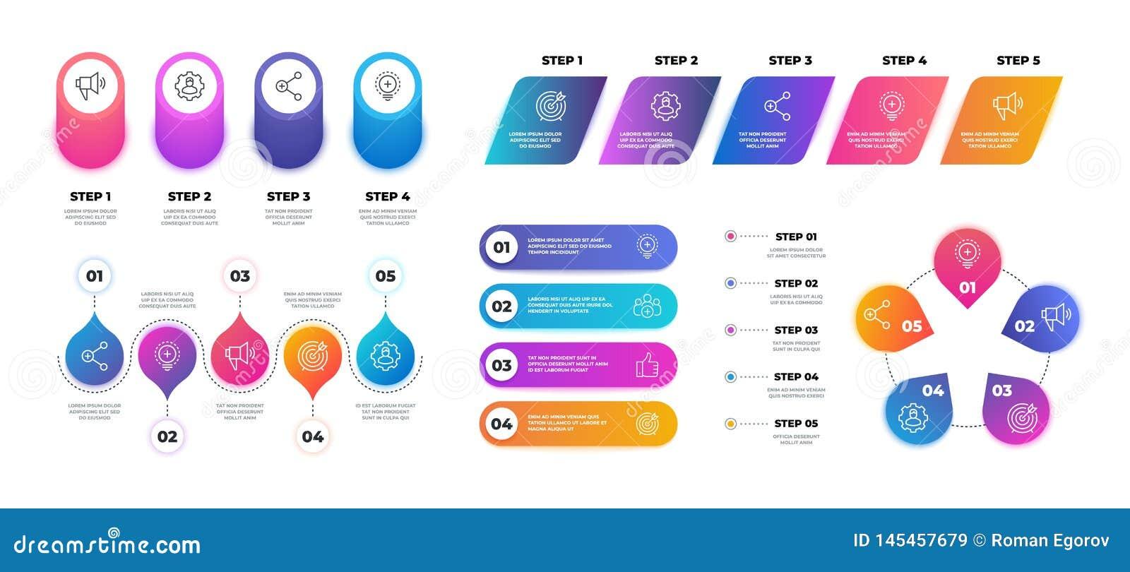 Stap 3D infographic De grafiek van de chronologiegrafiek, werkschema bedrijfspresentatiemalplaatje, stroomschemastructuur Vector