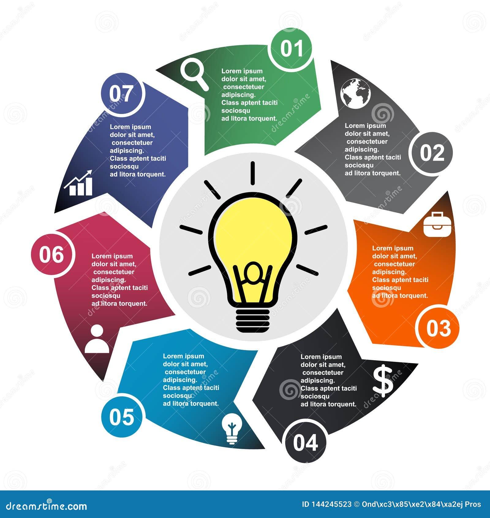 7 stap vectorelement in zeven kleuren met etiketten, infographic diagram Bedrijfsconcept 7 stappen of opties met gloeilamp