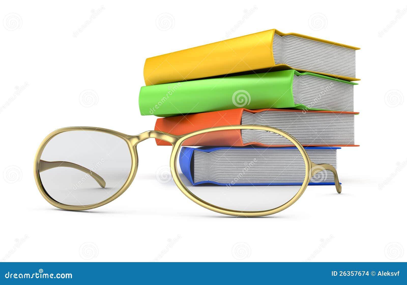 Stapel Bücher und Gläser