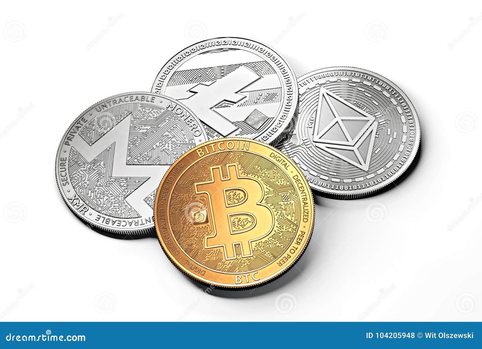 Stapel cryptocurrencies: bitcoin, ethereum, litecoin, monero, streepje, en rimpelingsmuntstuk samen, op wit wordt geïsoleerd dat