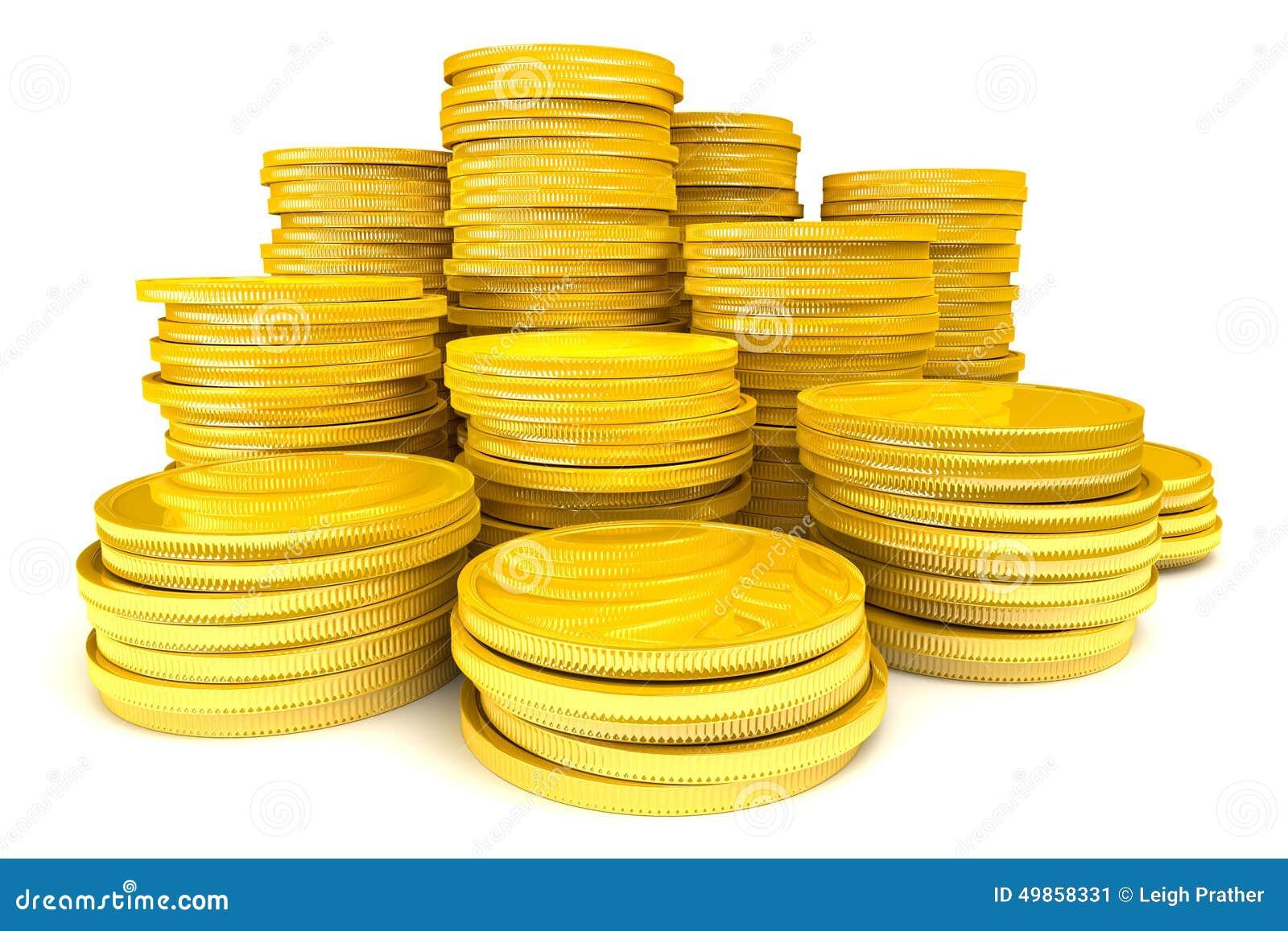 Stapel Goldmünzen