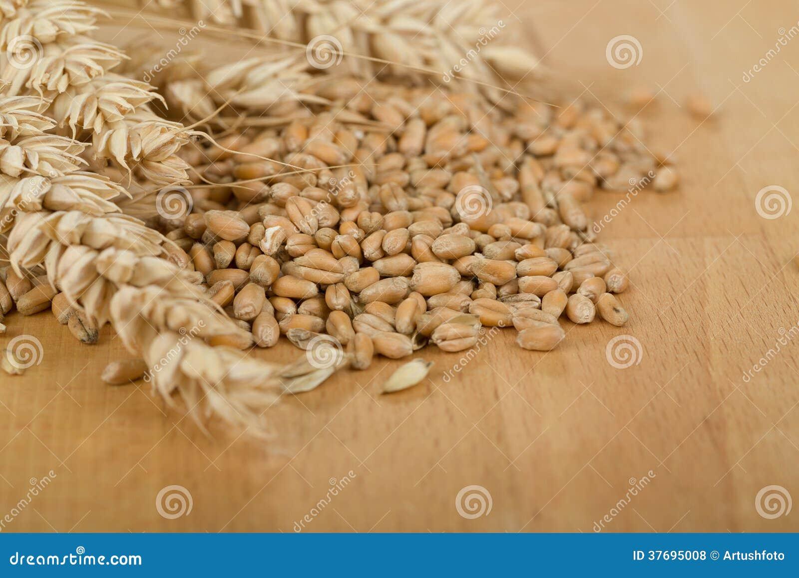 Stapel van de organische gehele pitten van de korreltarwe en oren