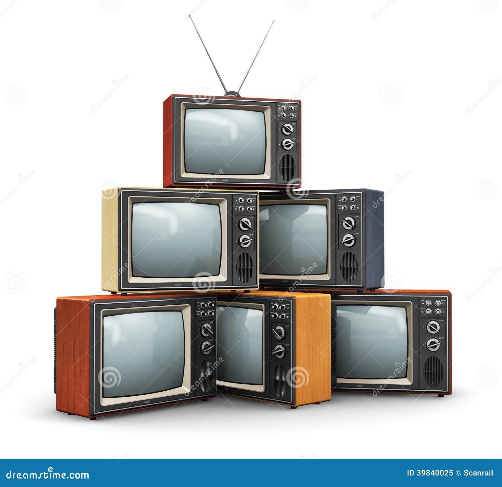 Stapel van oude TV