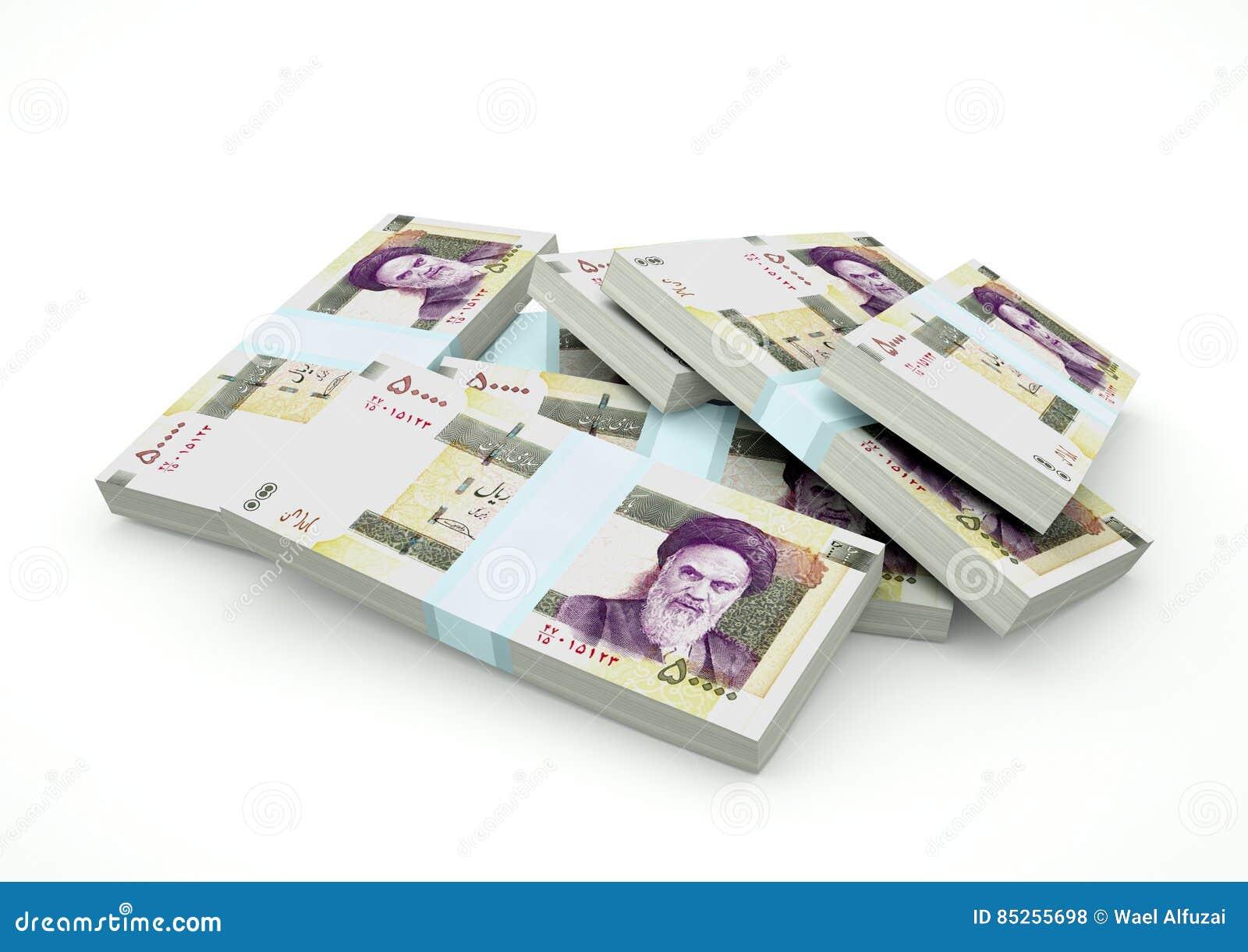 Stapel von der Iran-Geld lokalisiert auf weißem Hintergrund