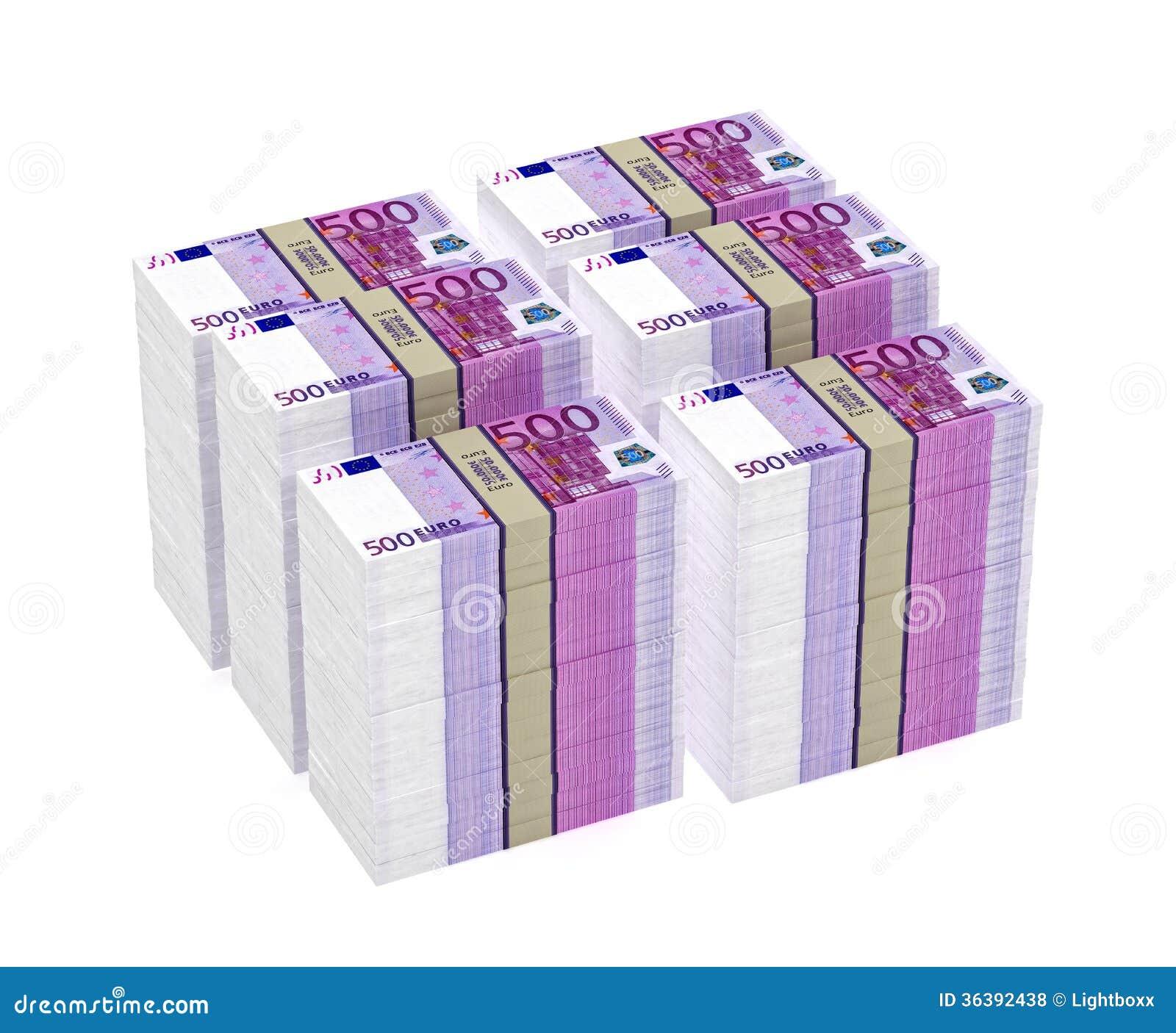 stapel von 500 eurobanknoten stockfoto bild von flu. Black Bedroom Furniture Sets. Home Design Ideas