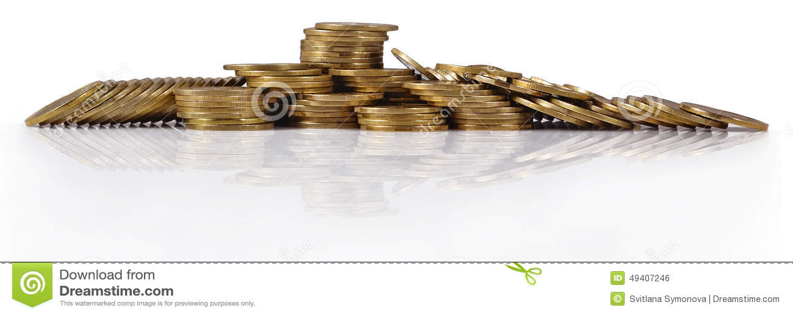 Download Stapel Von Goldmünzen Auf Einem Weiß Stockfoto - Bild von gefärbt, steigen: 49407246
