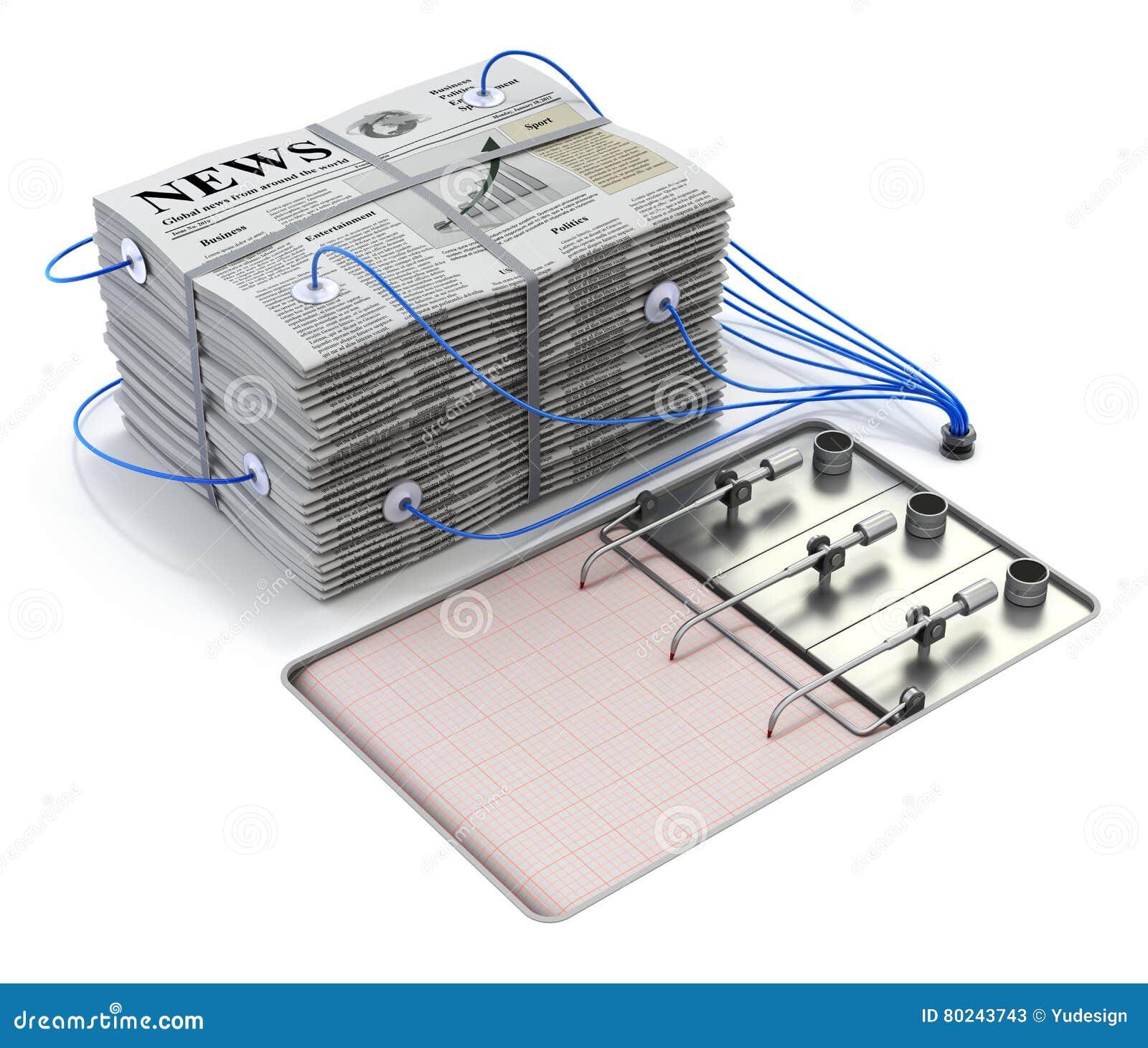 Stapel von Zeitungen auf dem Polygraphlügendetektor