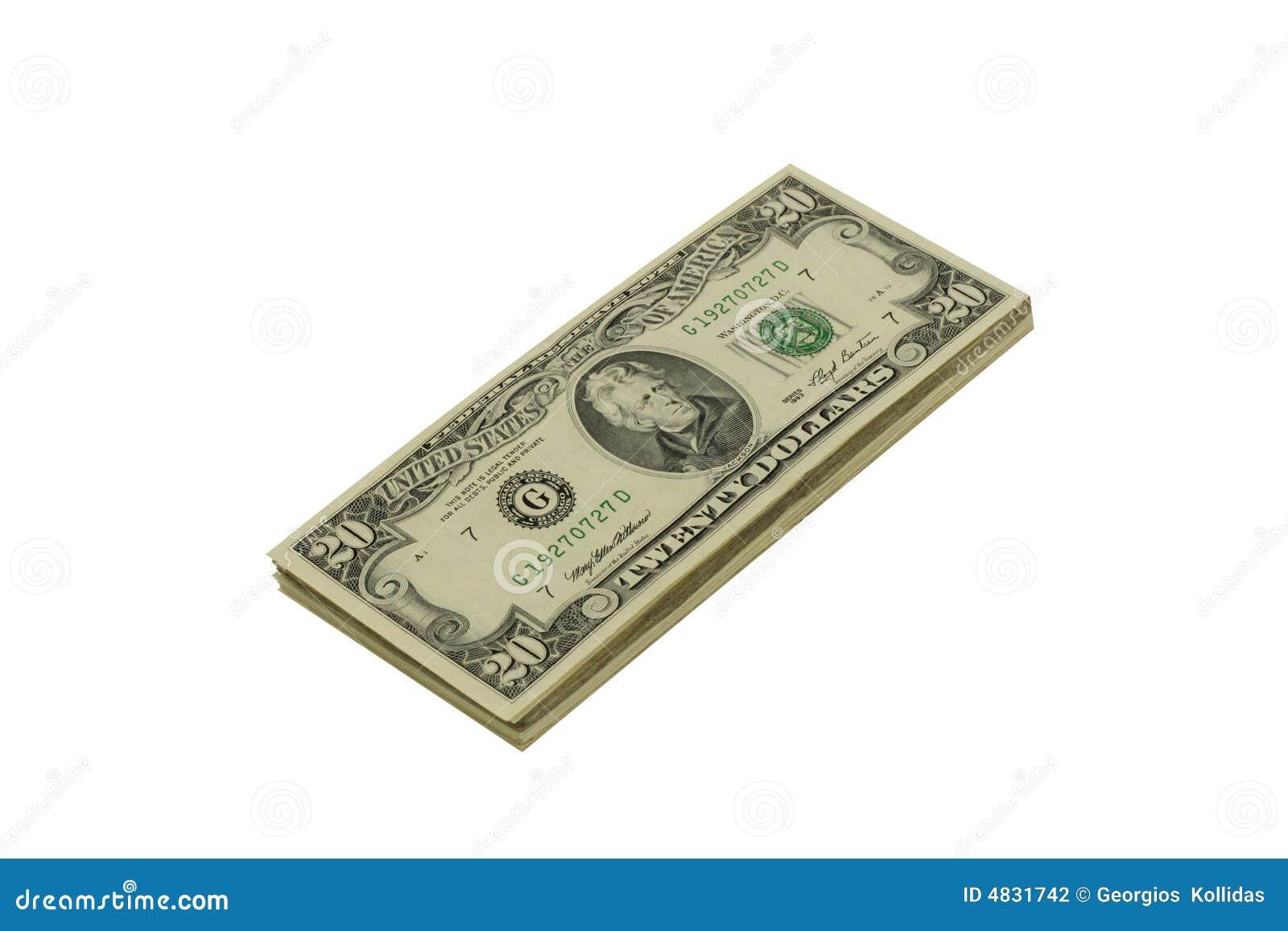 Stapel von Zwanzig Dollarscheinen