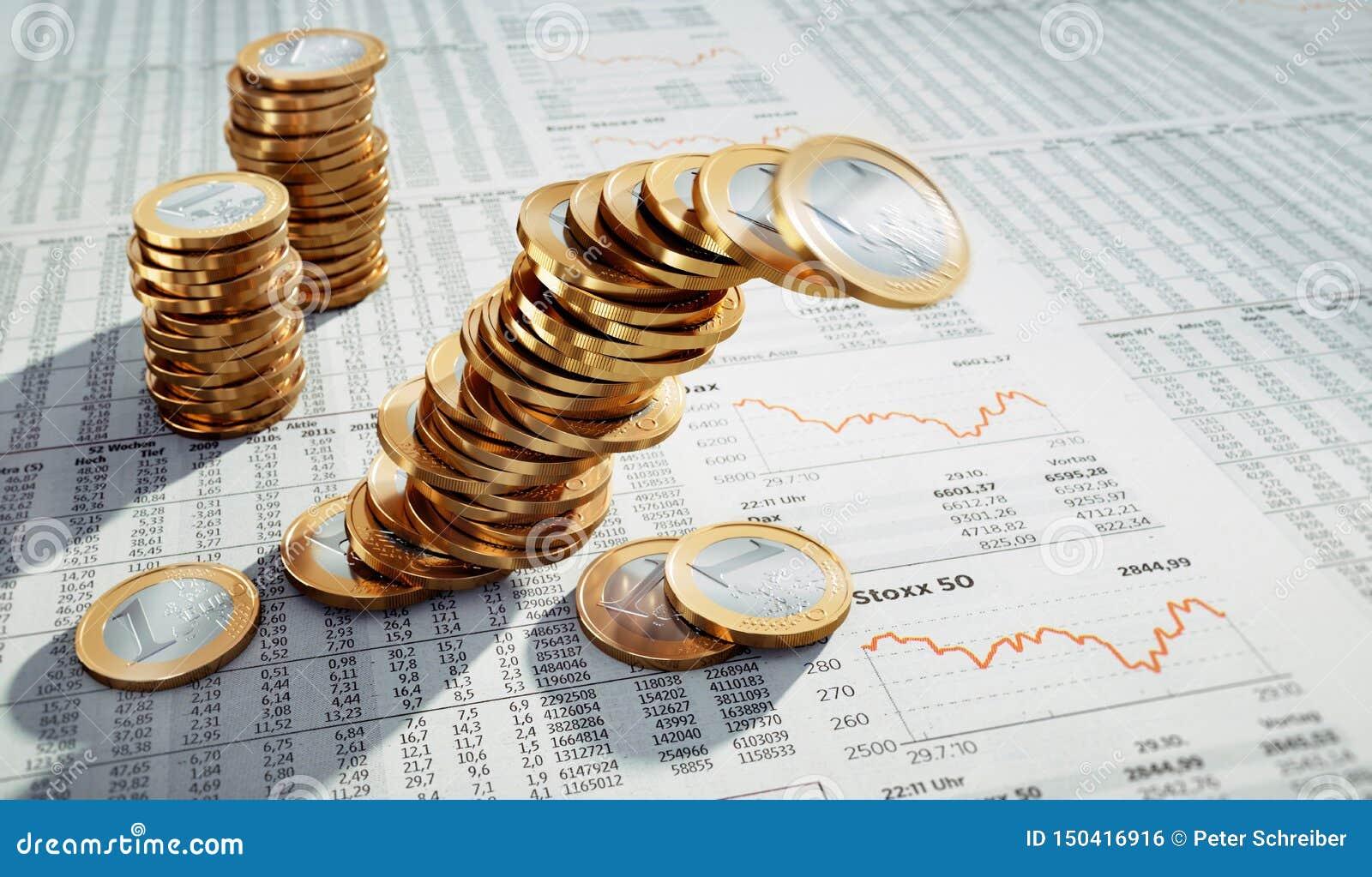 3 stapels Euro muntstukken
