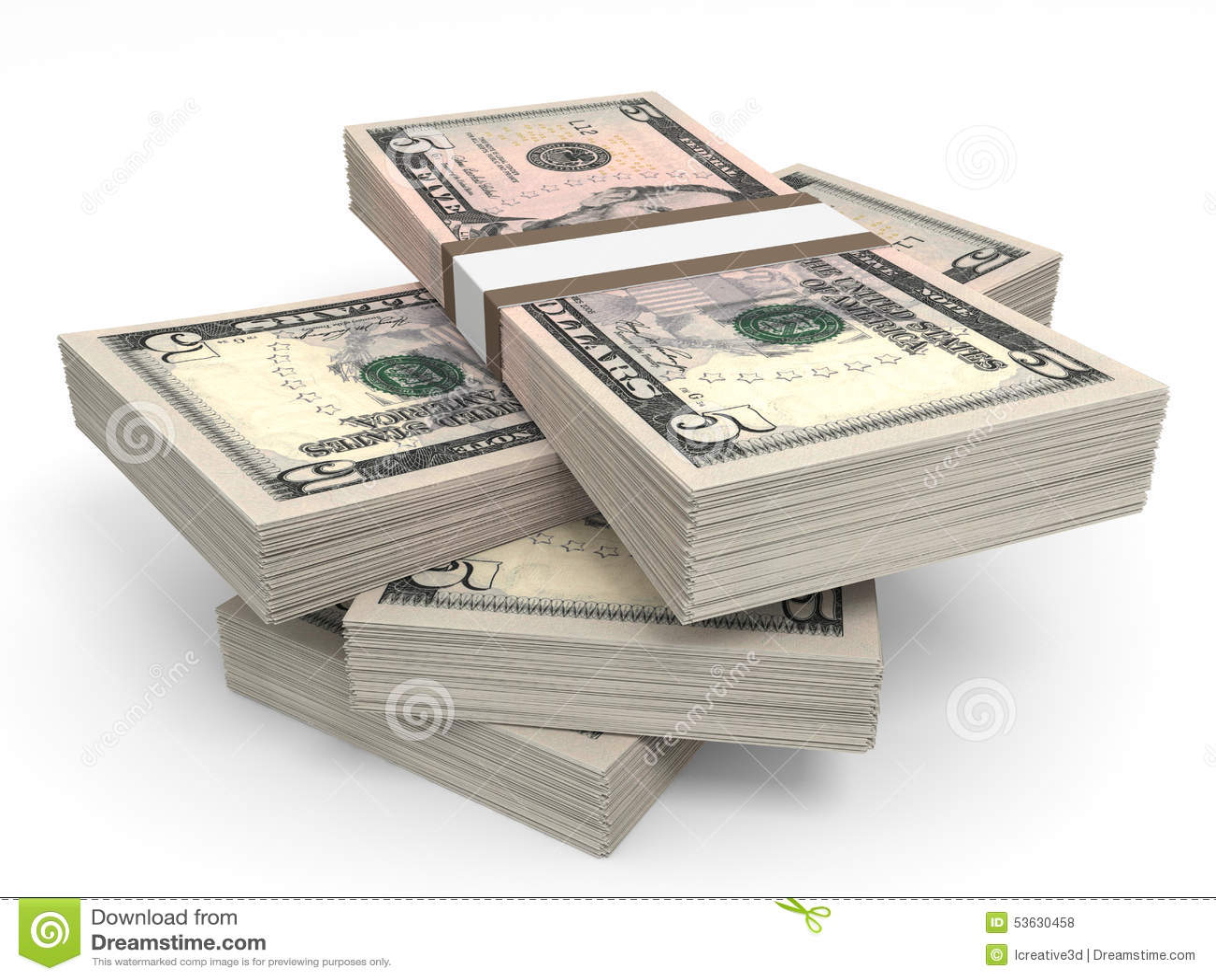 Stapels van Geld Vijf dollars