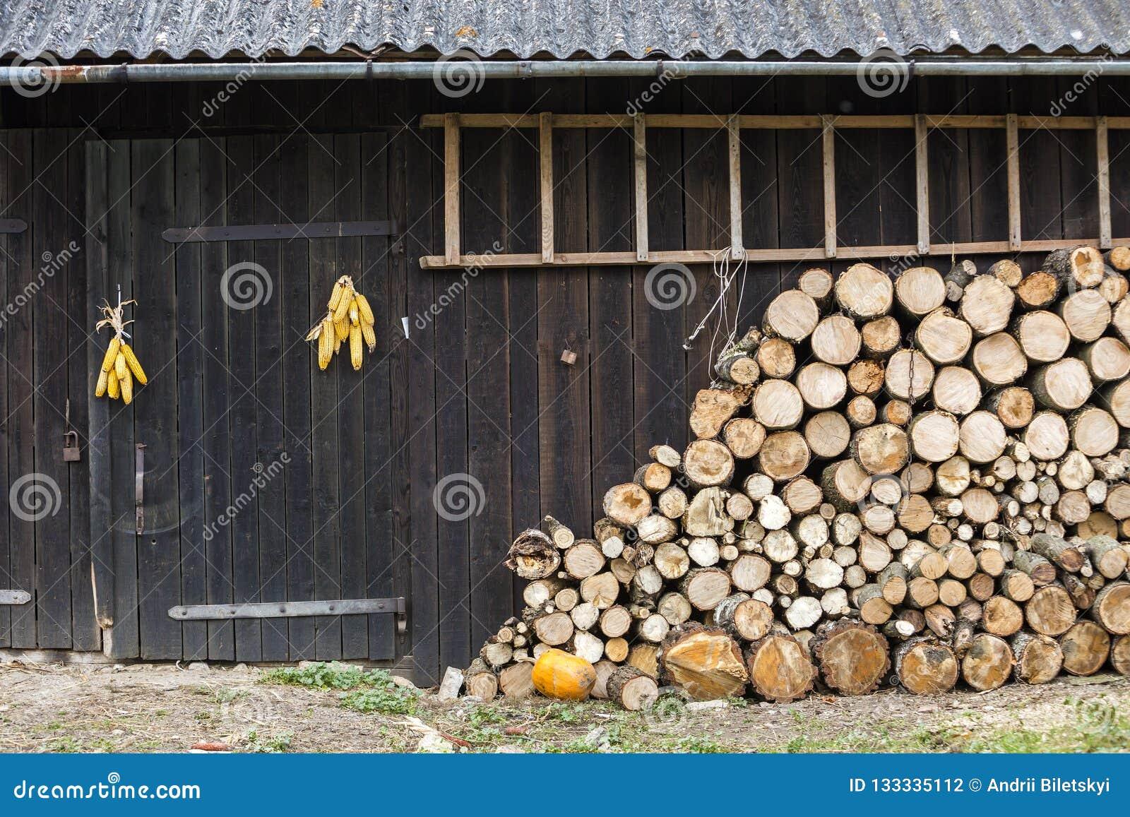 Stapelte ordentlich großen Stapel von den gehackten hölzernen Klotz des Feuers, die für Winter an der hölzernen Scheunenwand der