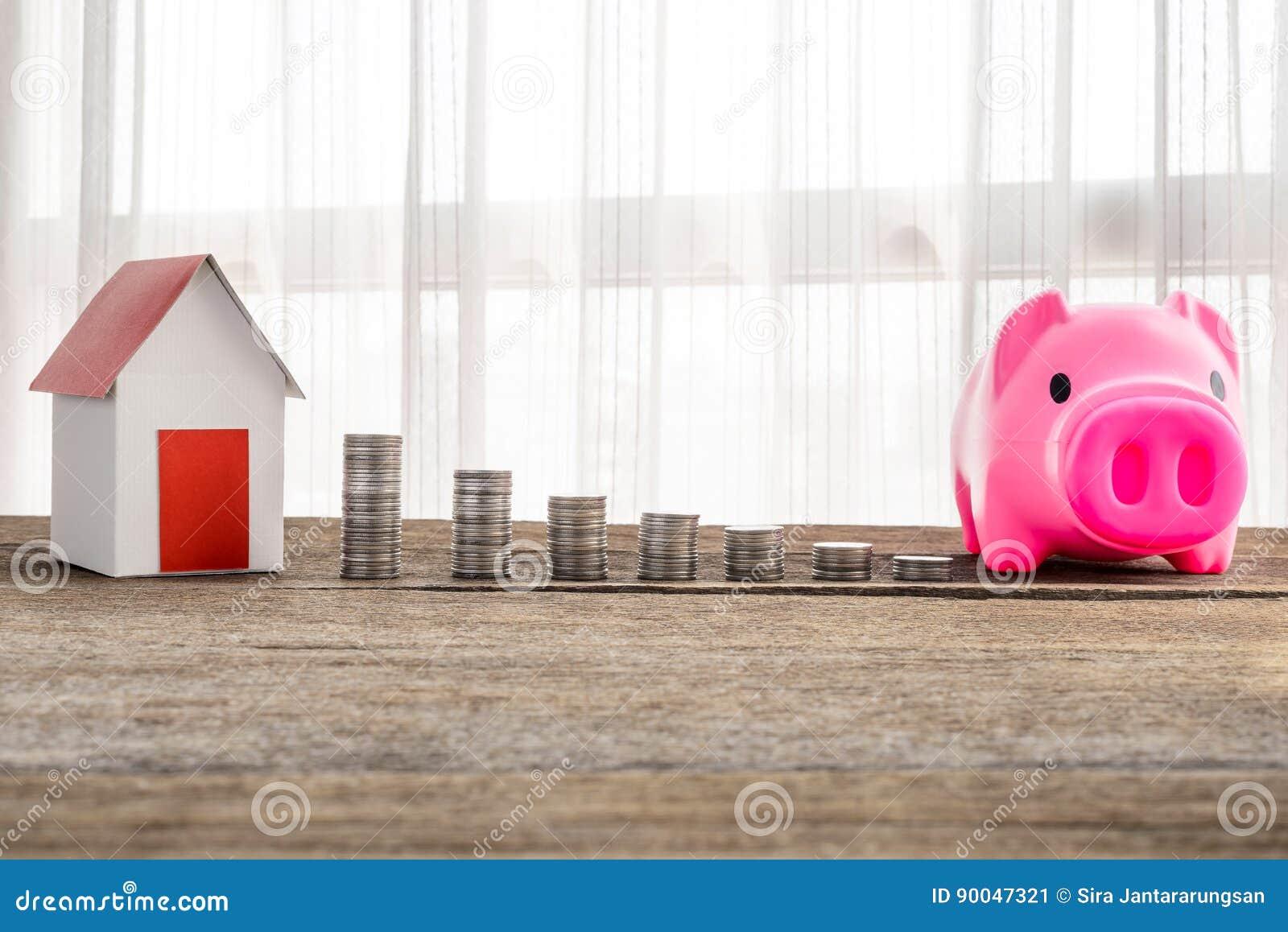 Stapla mynt och hemmet modellera för sparande med växande pengar till r
