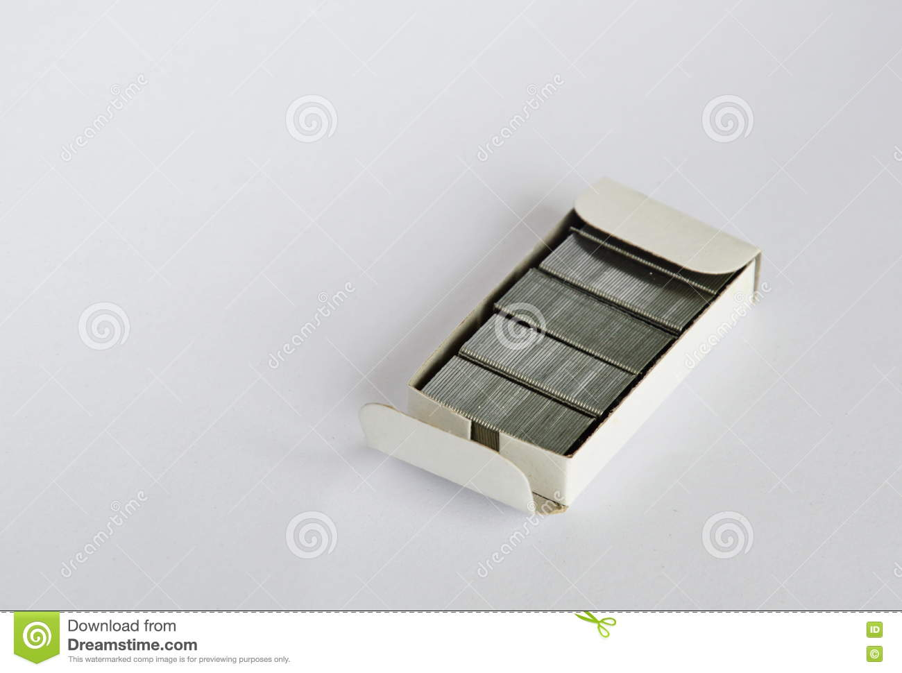 Stapler Wire In Box On White Background Stock Photo - Image of ...