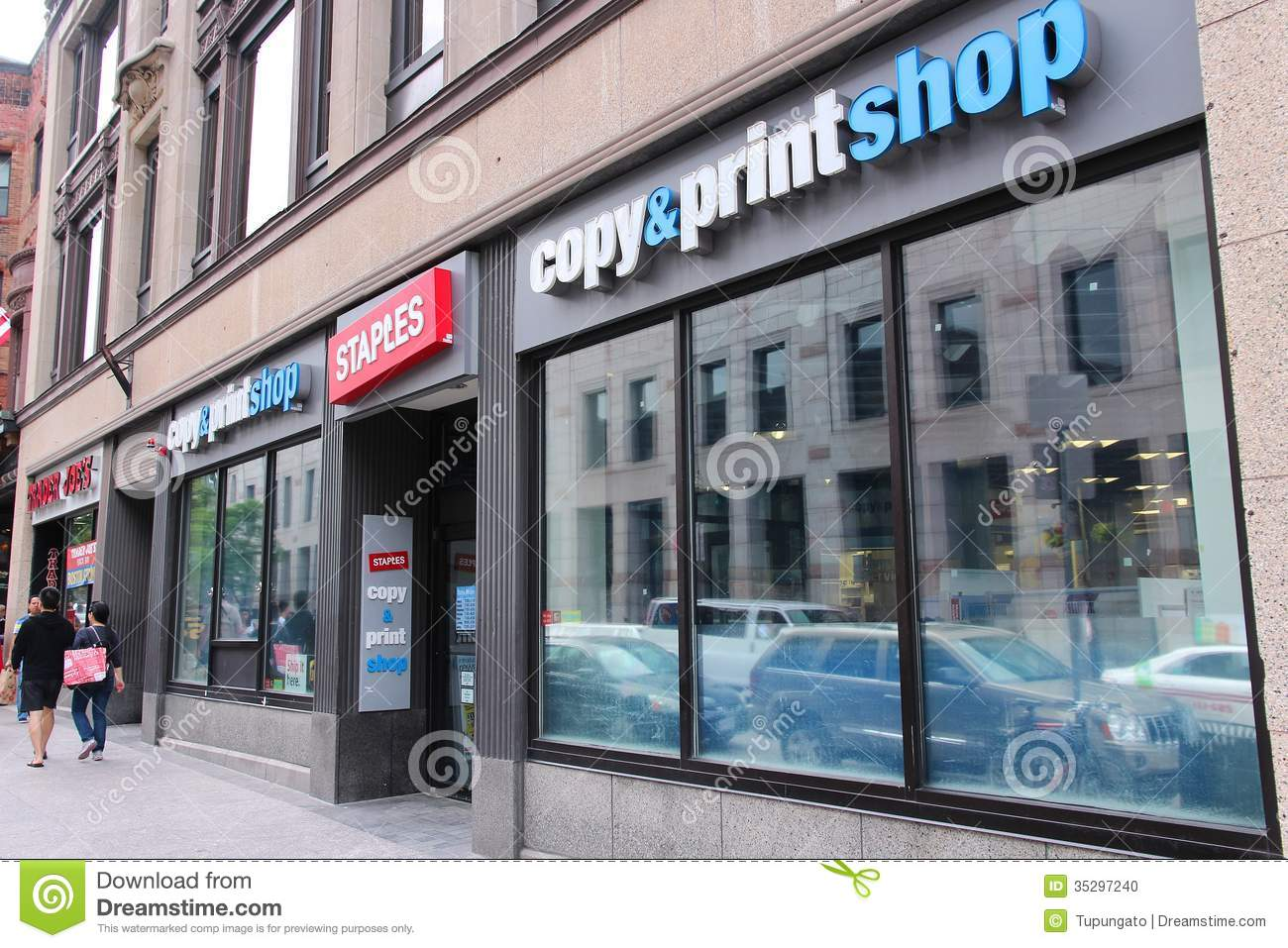 BOSTON - JUNE 8: People walk past Staples Copy and Print Shop on June ...: www.dreamstime.com/stock-photo-staples-copy-print-shop-boston-june...