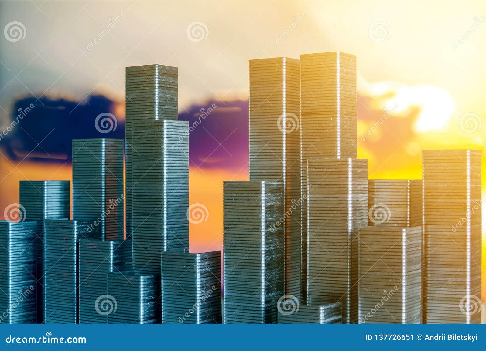 Staples s est chargé de former l horizon de ville sur un fond de coucher du soleil