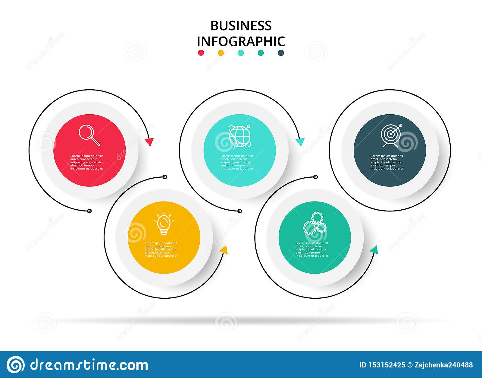 5 stappen infographic malplaatje Het bedrijfs infographic concept kan voor werkschemalay-out, diagram, vooruitgang, chronologie w