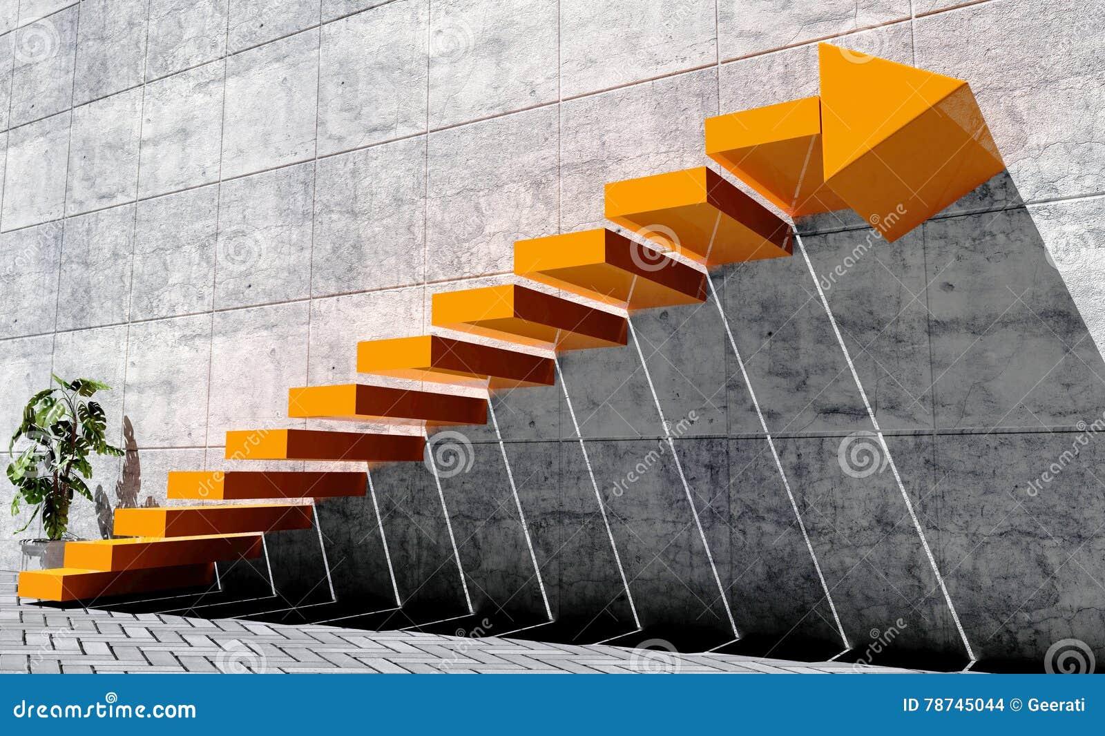 Stappen op volgende niveau, succesconcept vooruit te verplaatsen