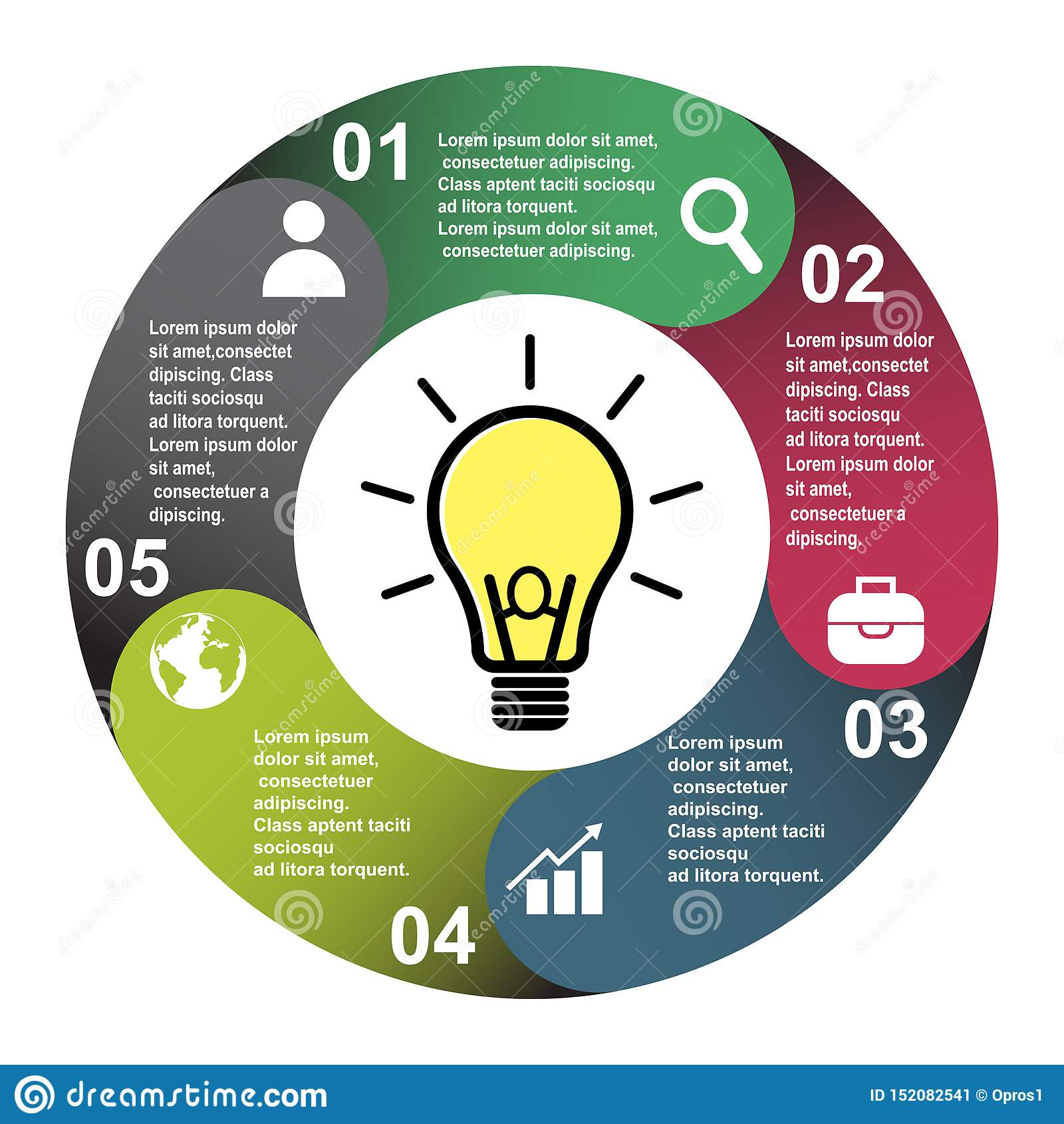 5 stappen vectorelement in vijf kleuren met etiketten, infographic diagram Bedrijfsconcept 5 stappen of opties met gloeilamp
