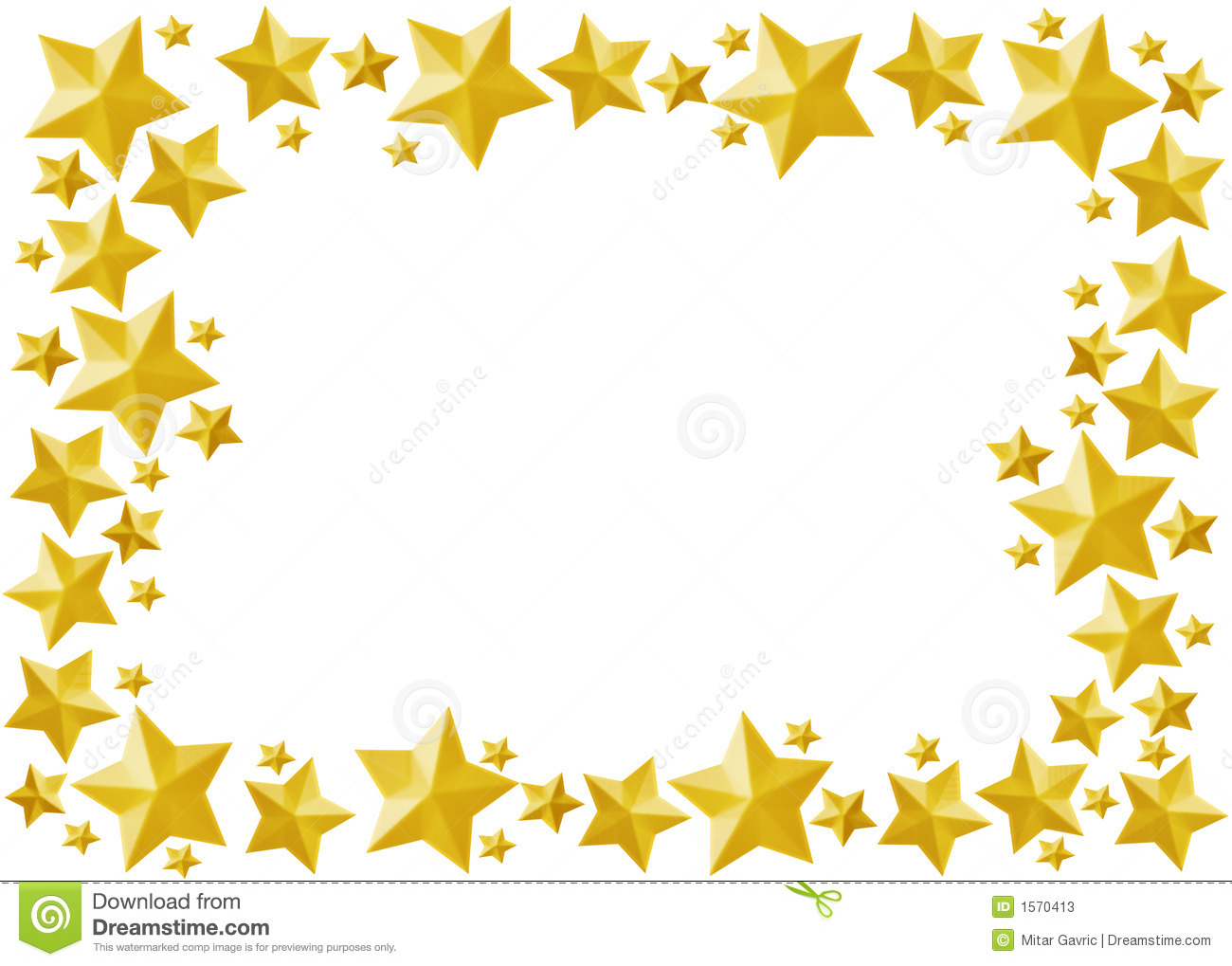 Decoration frame with star all, gold star isolated.