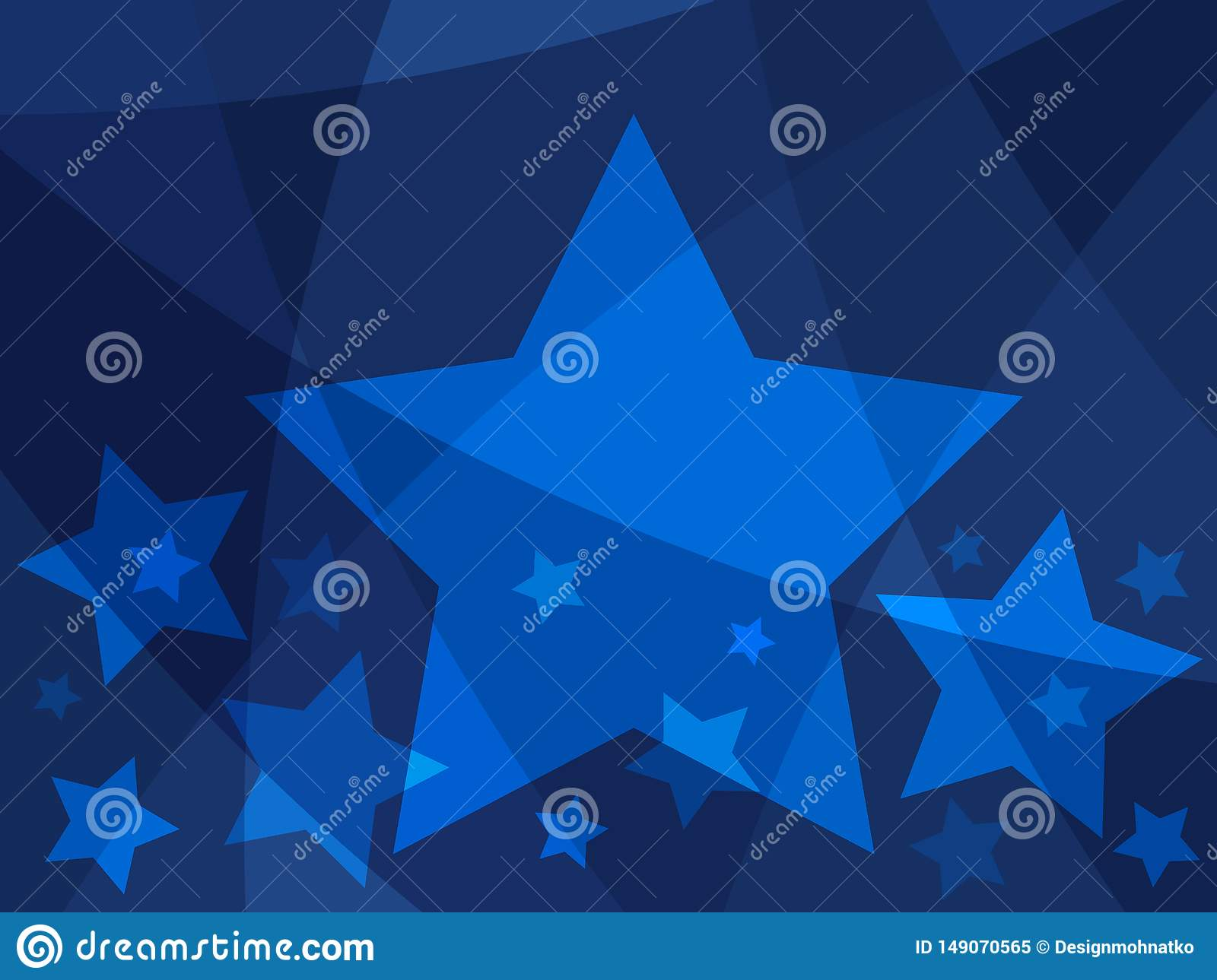 Star abstract design with blue stars on a modern creative background