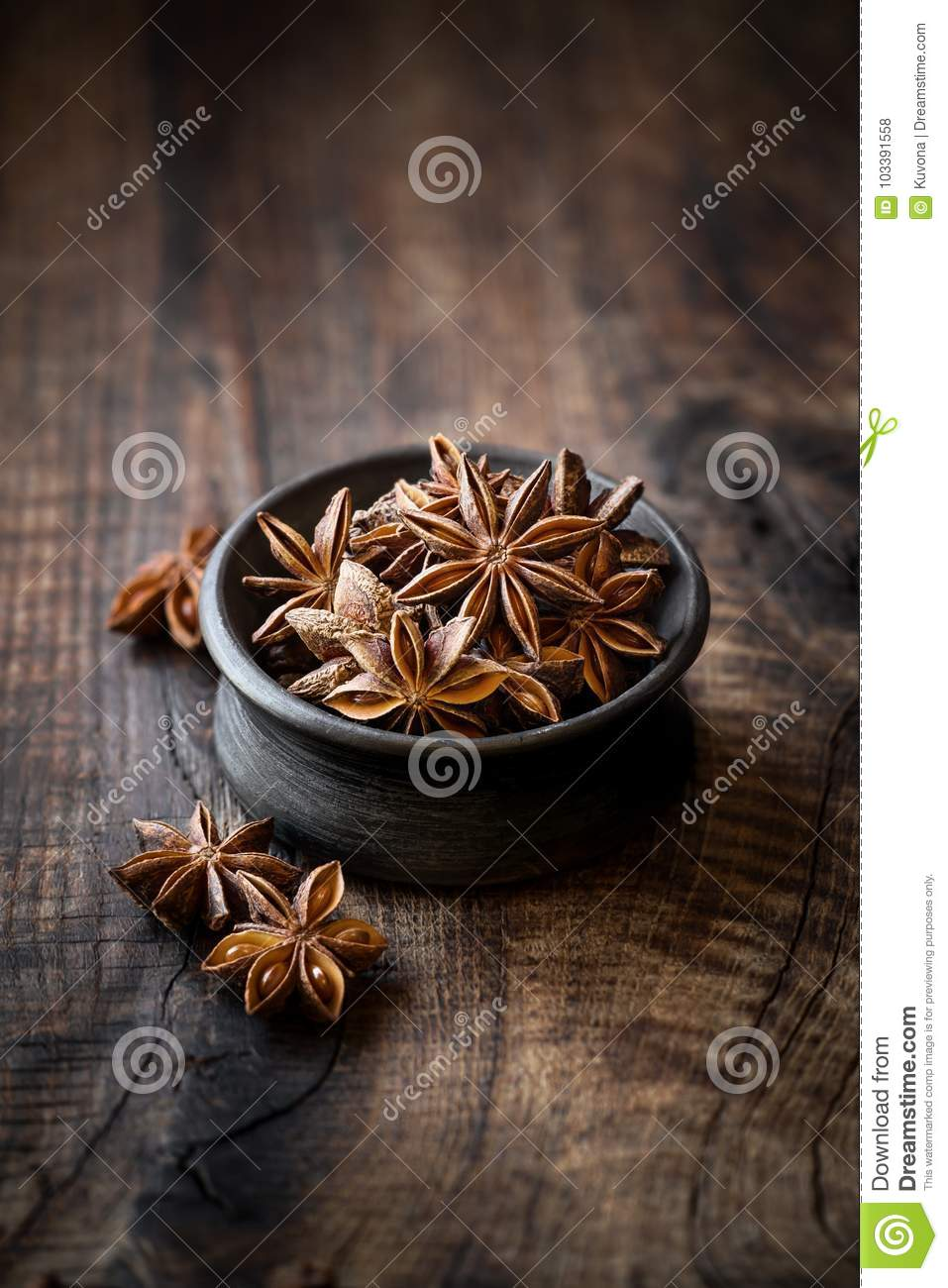 Star Anise Or Aniseed Closeup On Dark Rustic Table Stock