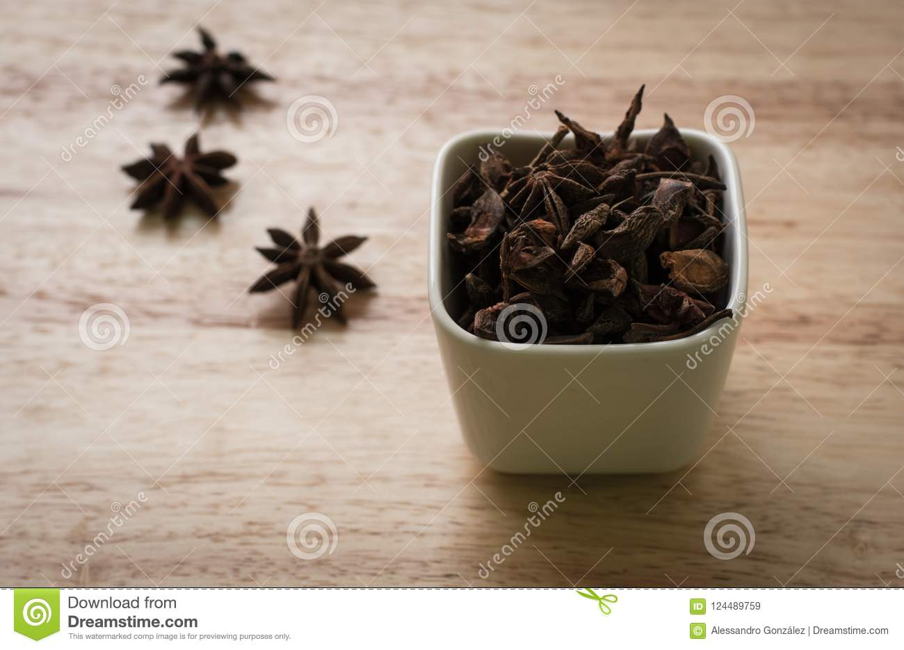 Star anise in ceramic container
