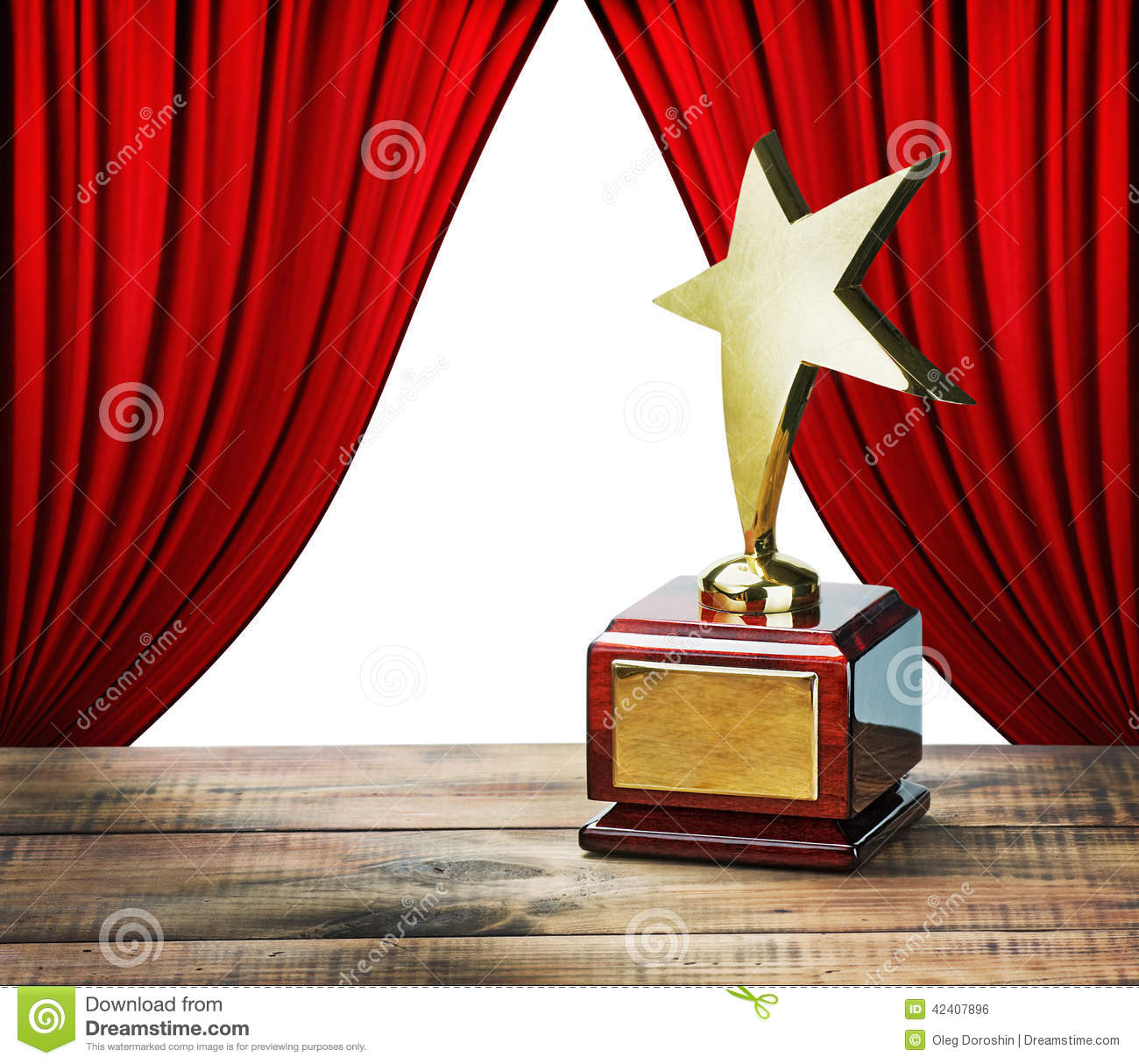 Star Award And Red Curtains With Space For Text Stock Photo Image 42407896