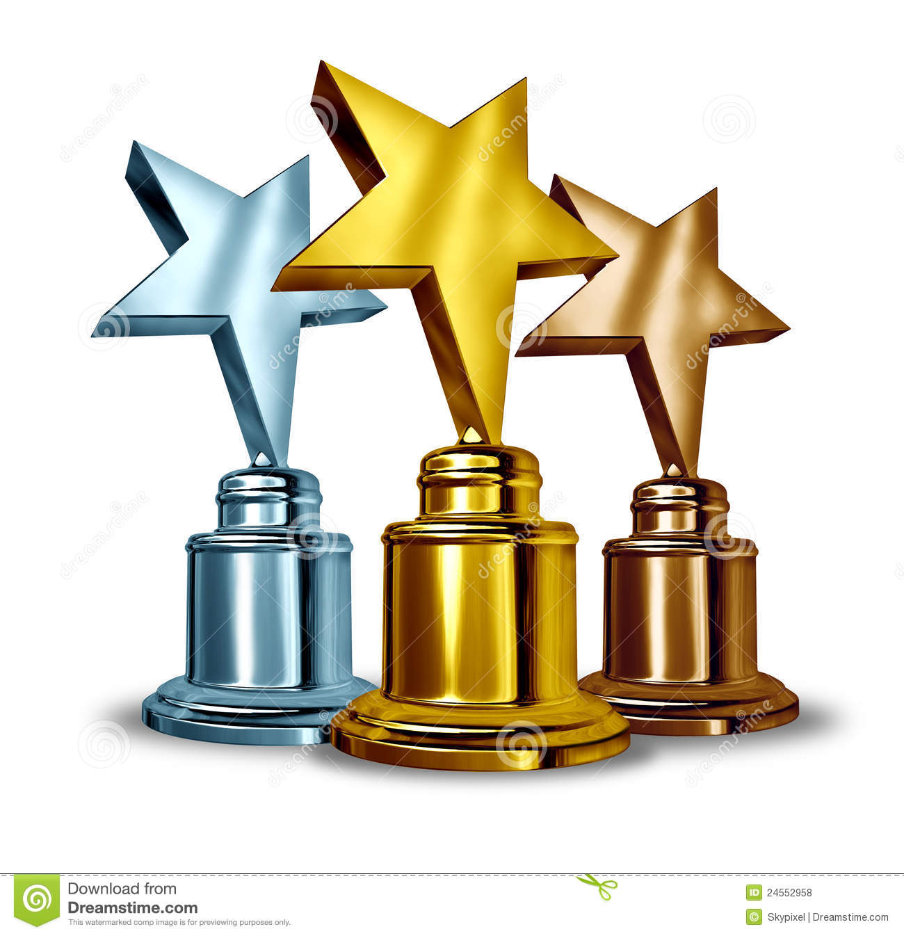 Gold silver and bronze star trophies and trophy award as the best ...