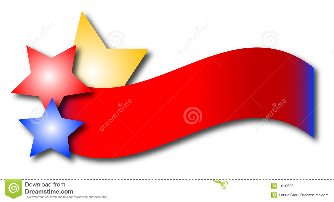 Colorful banner with yellow, red and blue stars.