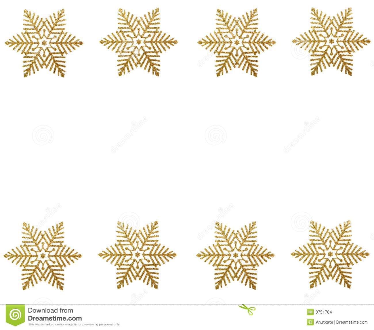 Winter border - gold snow stars on white background .