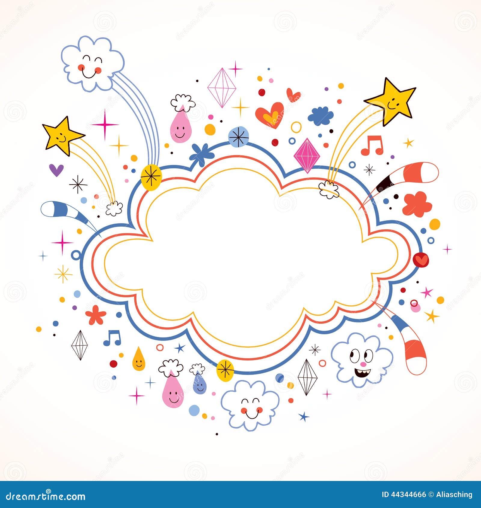 star bursts cartoon cloud shape banner frame royalty free stock image