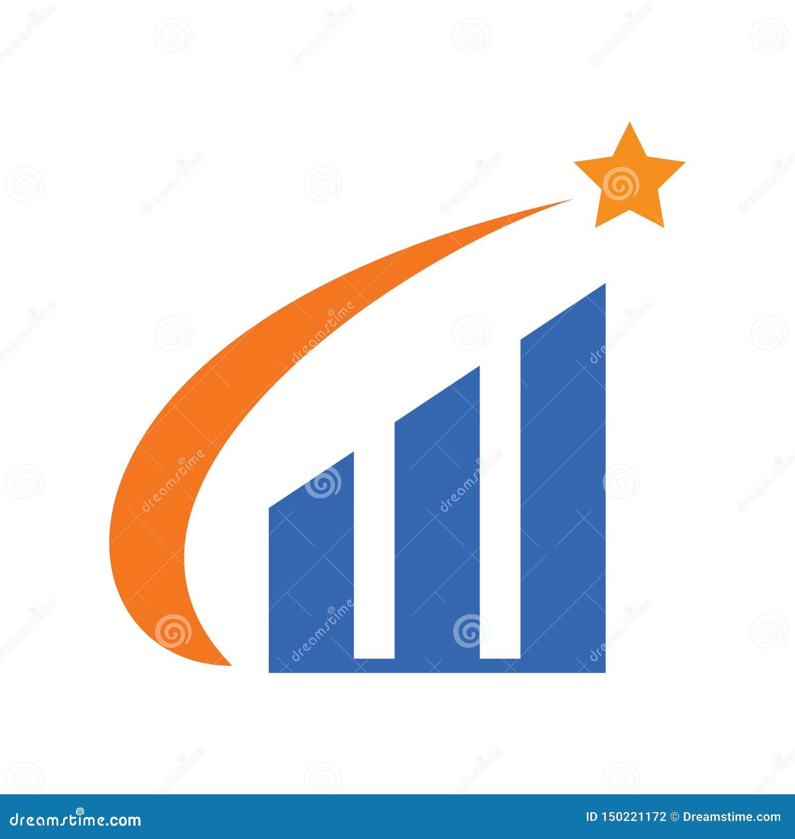 Star Chart Flat Design Logo Vector