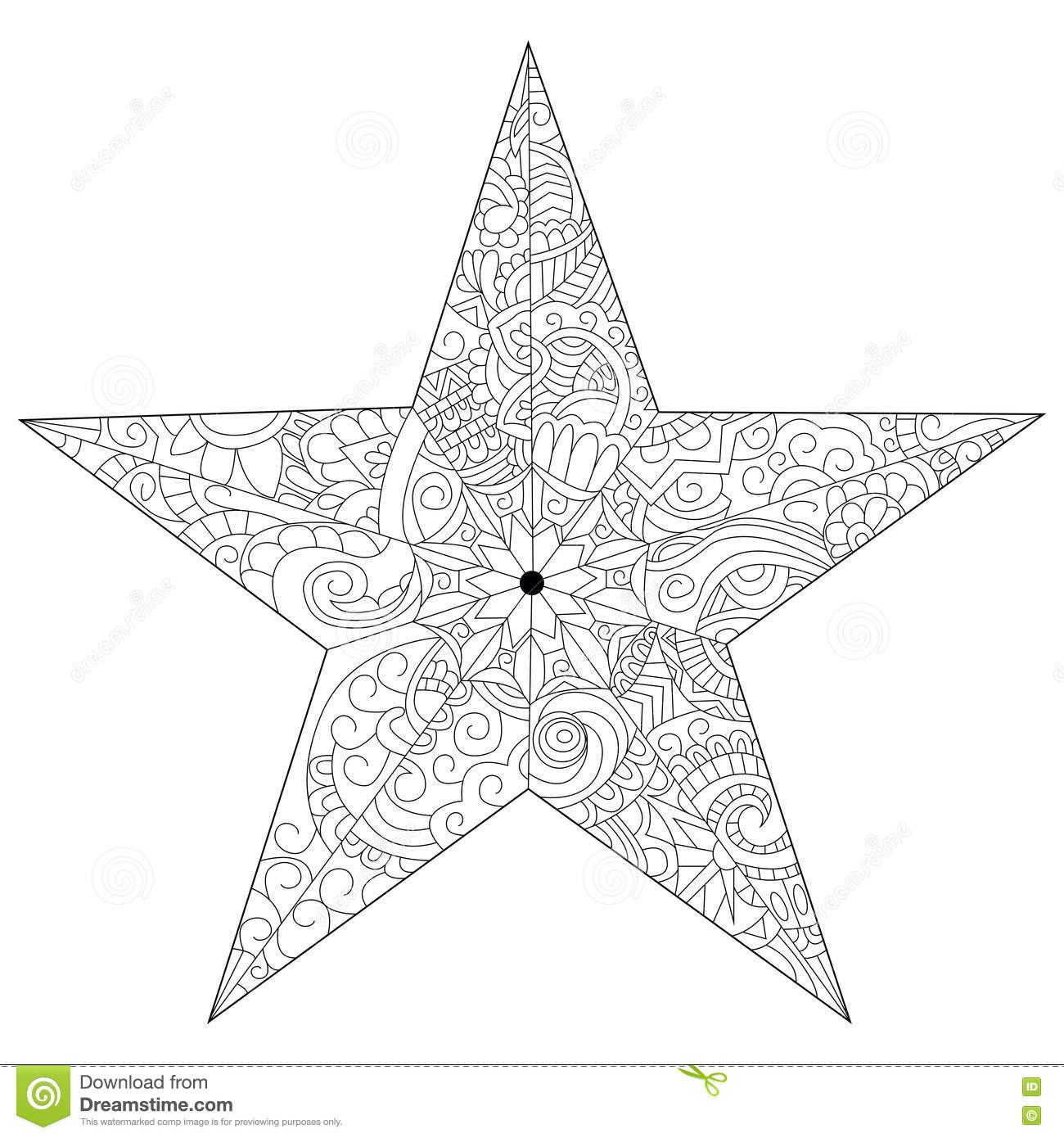 Star Coloring Vector For Adults Stock Vector Illustration Of