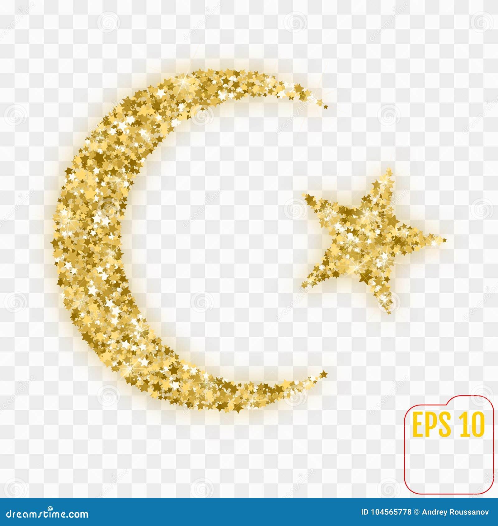 Star And Crescent Moon Islam Symbol Gold Stars Confetti Stock